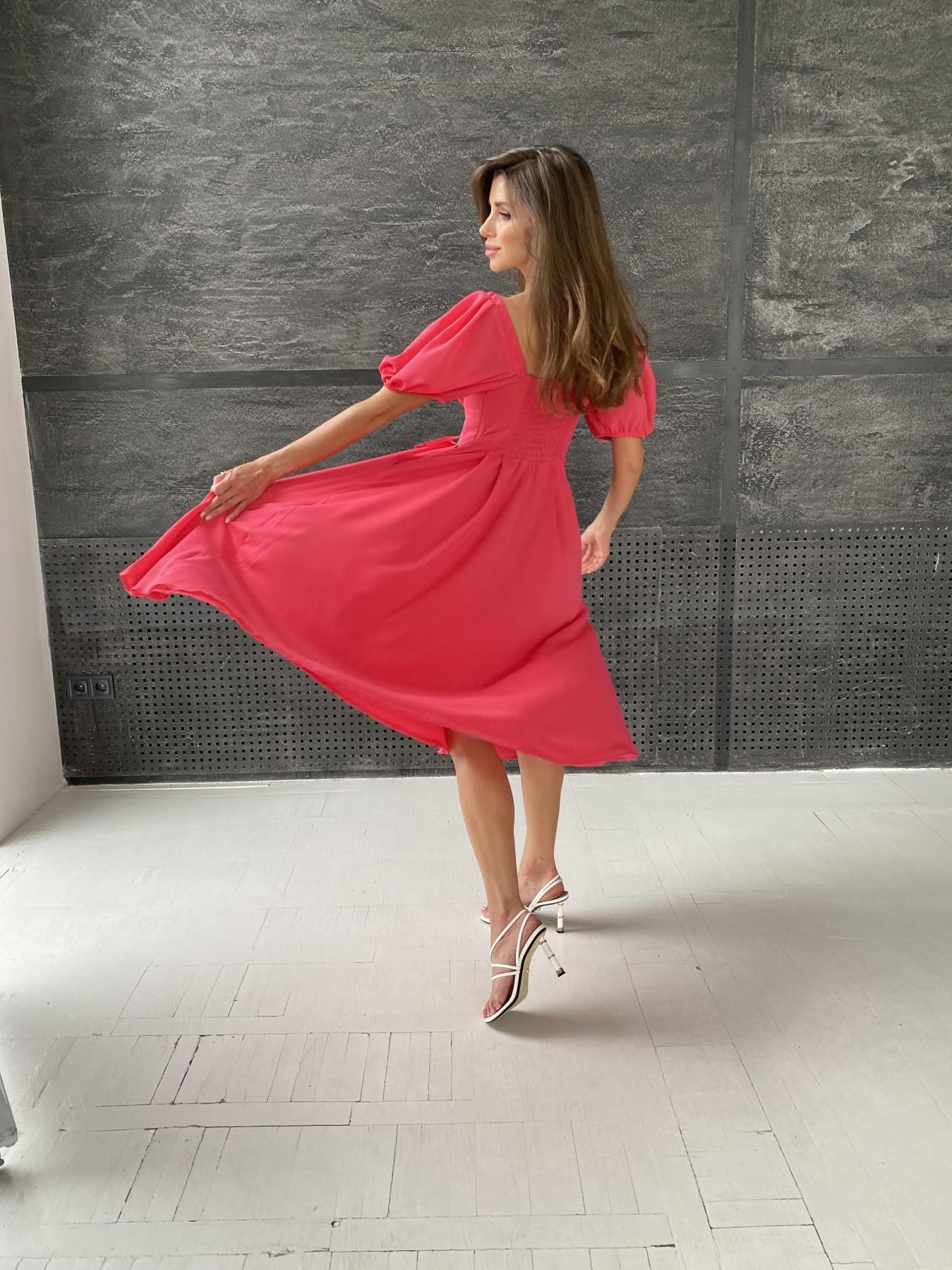 Кисес Миди платье из шифона креп 11443 АРТ. 48314 Цвет: Коралл - фото 3, интернет магазин tm-modus.ru