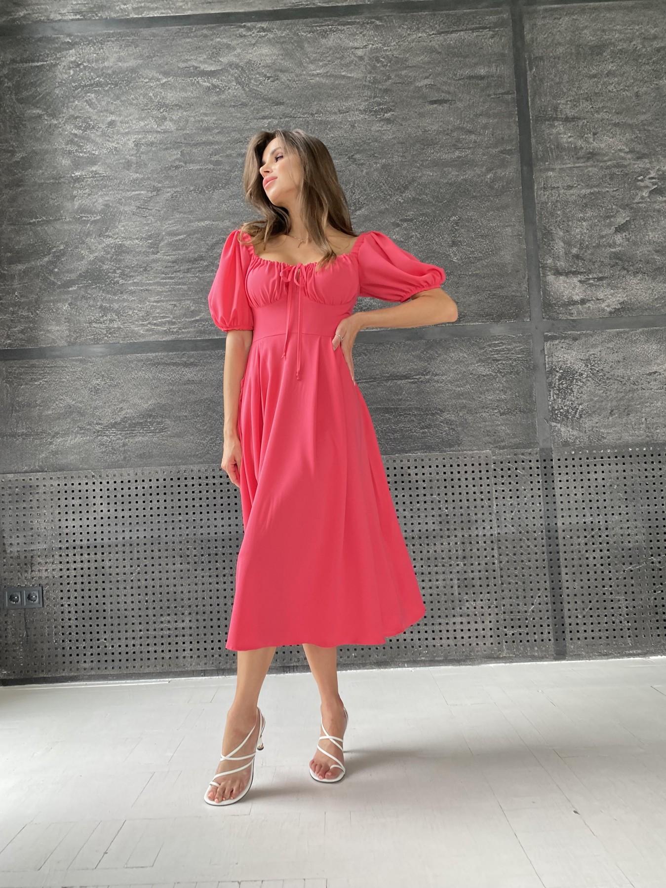 Кисес Миди платье из шифона креп 11443 АРТ. 48314 Цвет: Коралл - фото 5, интернет магазин tm-modus.ru