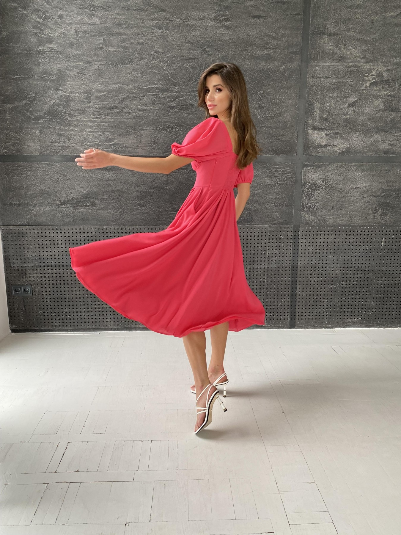 Кисес Миди платье из шифона креп 11443 АРТ. 48314 Цвет: Коралл - фото 6, интернет магазин tm-modus.ru