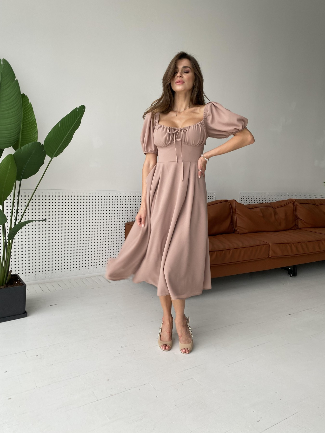 Кисес Миди платье из шифона креп 11443 АРТ. 48313 Цвет: Бежевый Темный - фото 1, интернет магазин tm-modus.ru