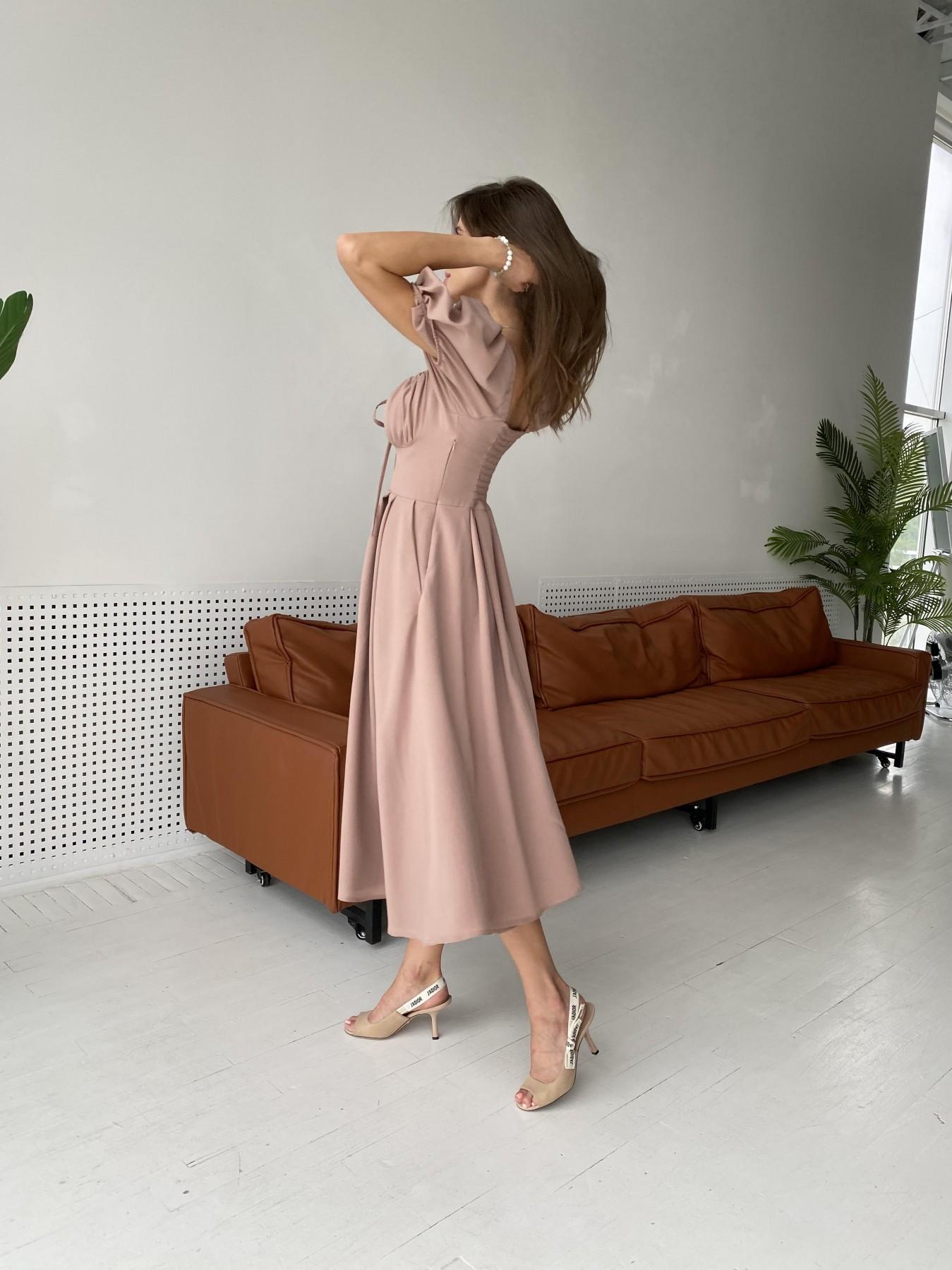 Кисес Миди платье из шифона креп 11443 АРТ. 48313 Цвет: Бежевый Темный - фото 5, интернет магазин tm-modus.ru