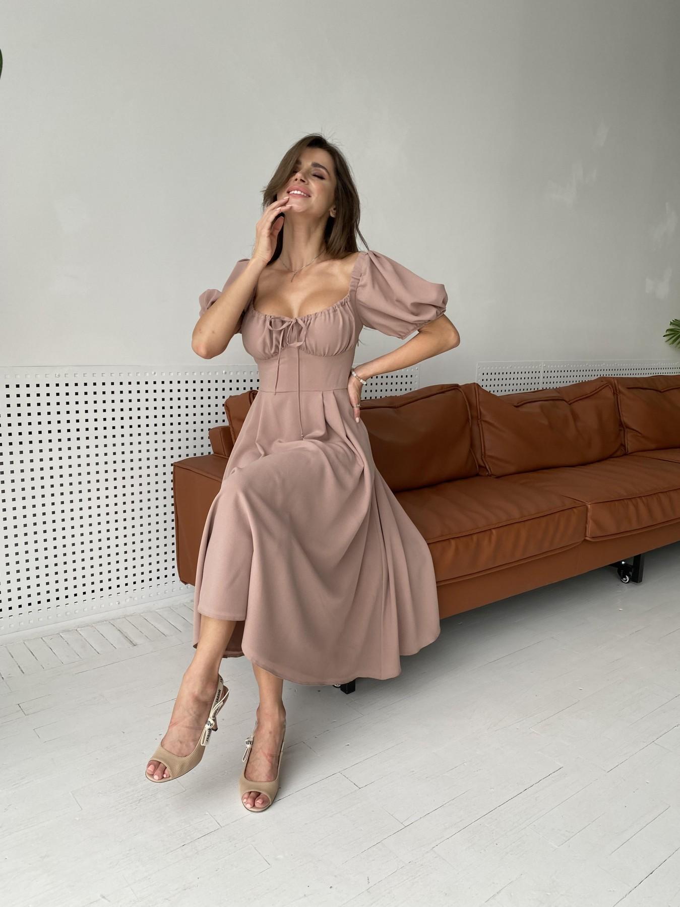 Кисес Миди платье из шифона креп 11443 АРТ. 48313 Цвет: Бежевый Темный - фото 6, интернет магазин tm-modus.ru