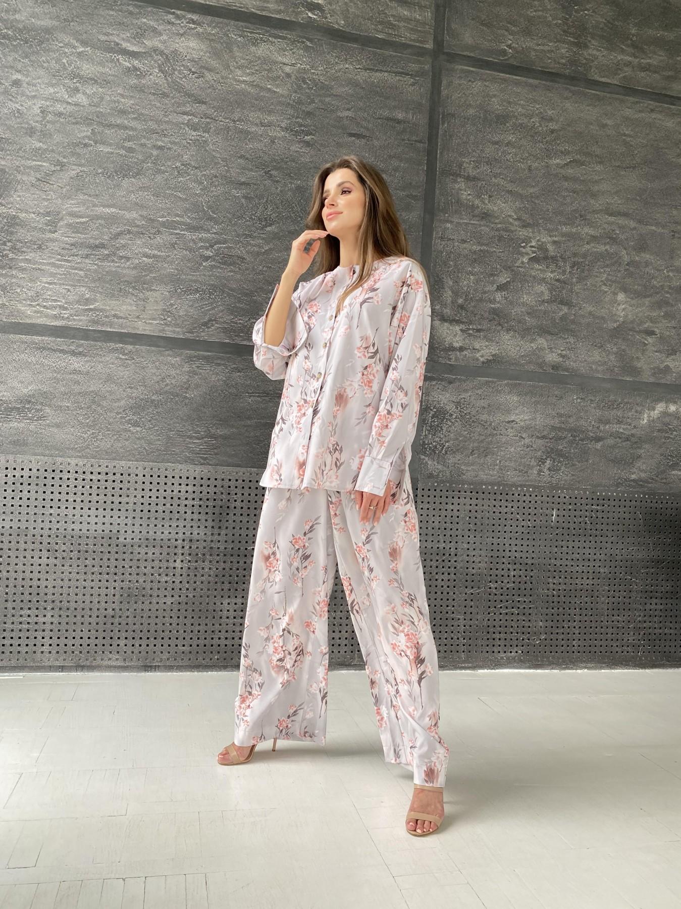 Колибри костюм софт с принтом 11244 АРТ. 48240 Цвет: Цветы на ветке серый/пудра - фото 2, интернет магазин tm-modus.ru
