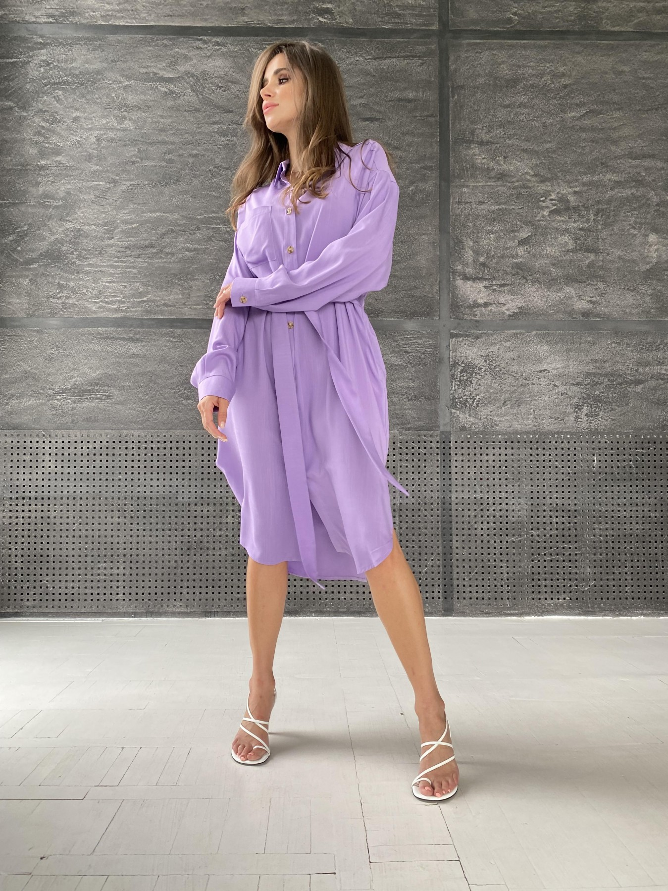 Сиэтл  рубашка миди лен вискоза не стрейч 11607 АРТ. 48288 Цвет: Лаванда - фото 3, интернет магазин tm-modus.ru