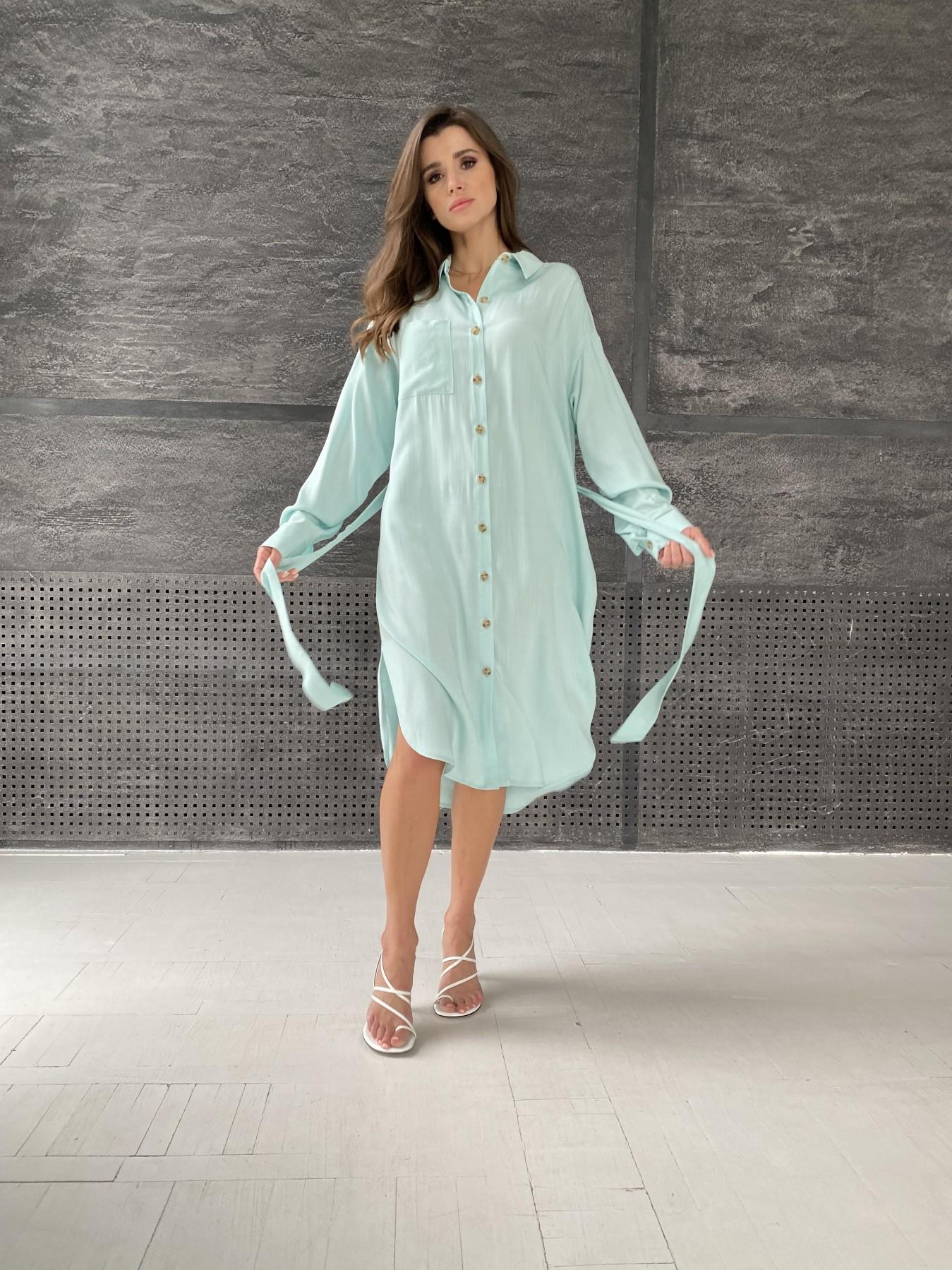 Сиэтл  рубашка миди лен вискоза не стрейч 11607 АРТ. 48287 Цвет: Мята - фото 1, интернет магазин tm-modus.ru