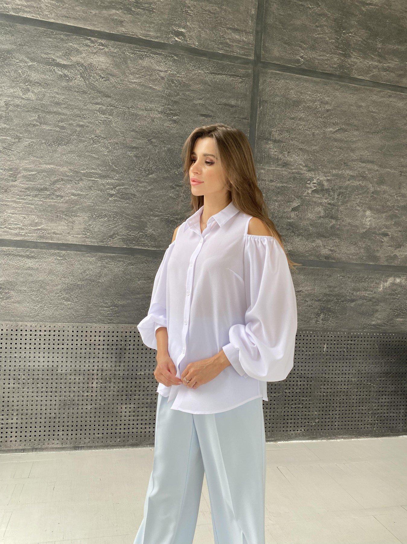 Адель блуза из креп креш шифона 11657 АРТ. 48371 Цвет: Белый - фото 1, интернет магазин tm-modus.ru