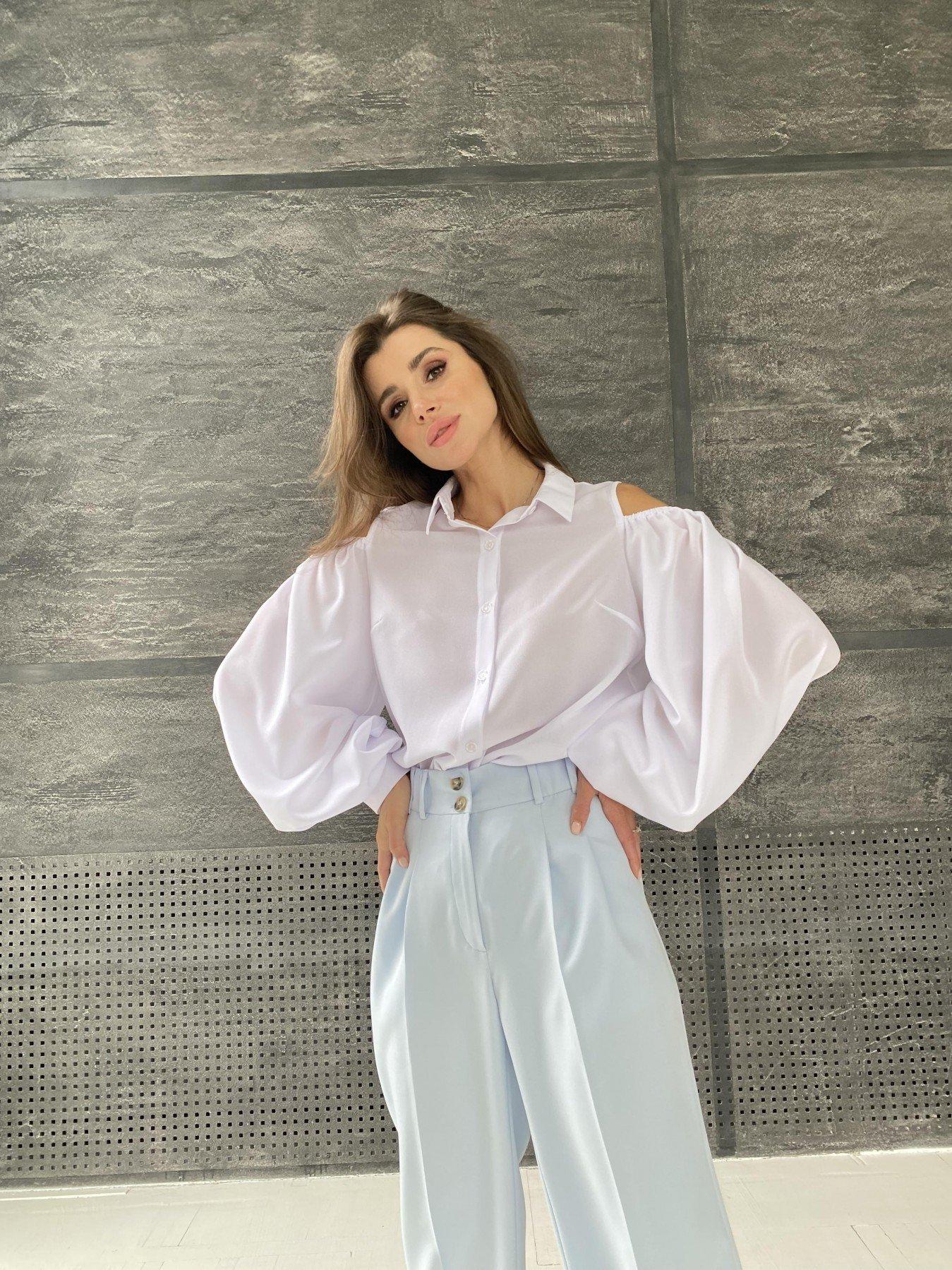 Адель блуза из креп креш шифона 11657 АРТ. 48371 Цвет: Белый - фото 6, интернет магазин tm-modus.ru