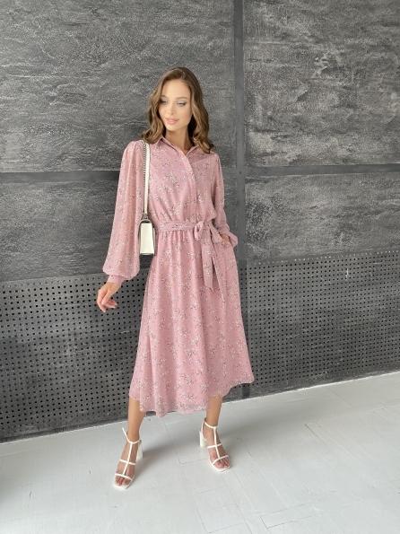 """Купить """"Жасмин"""" платье из  шифона микро принт с длинным рукавом не стрейч 11685  оптом и в розницу"""