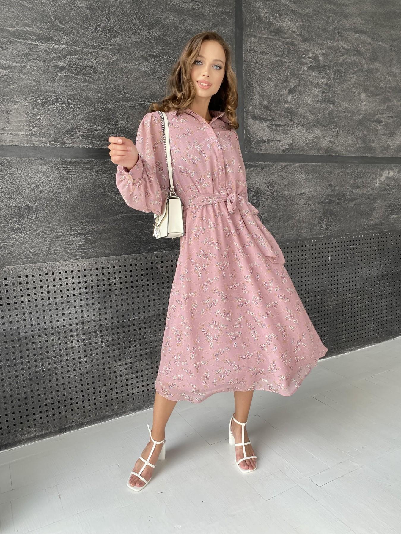 Жасмин платье из  шифона микро принт с длинным рукавом не стрейч 11685  АРТ. 48391 Цвет:  Пудра Т/Мол/Беж/ЦвНаВетке - фото 3, интернет магазин tm-modus.ru