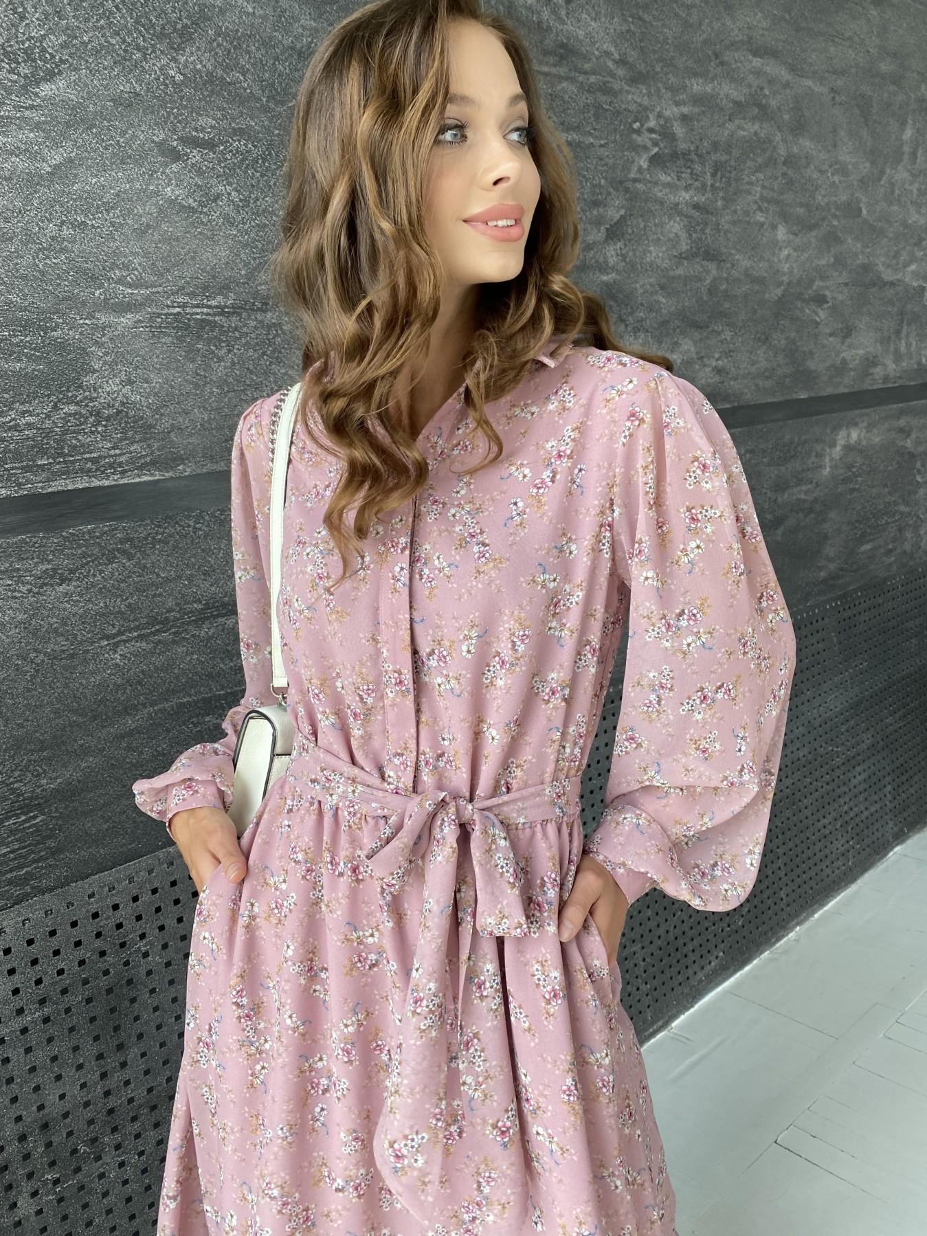 Жасмин платье из  шифона микро принт с длинным рукавом не стрейч 11685  АРТ. 48391 Цвет:  Пудра Т/Мол/Беж/ЦвНаВетке - фото 4, интернет магазин tm-modus.ru