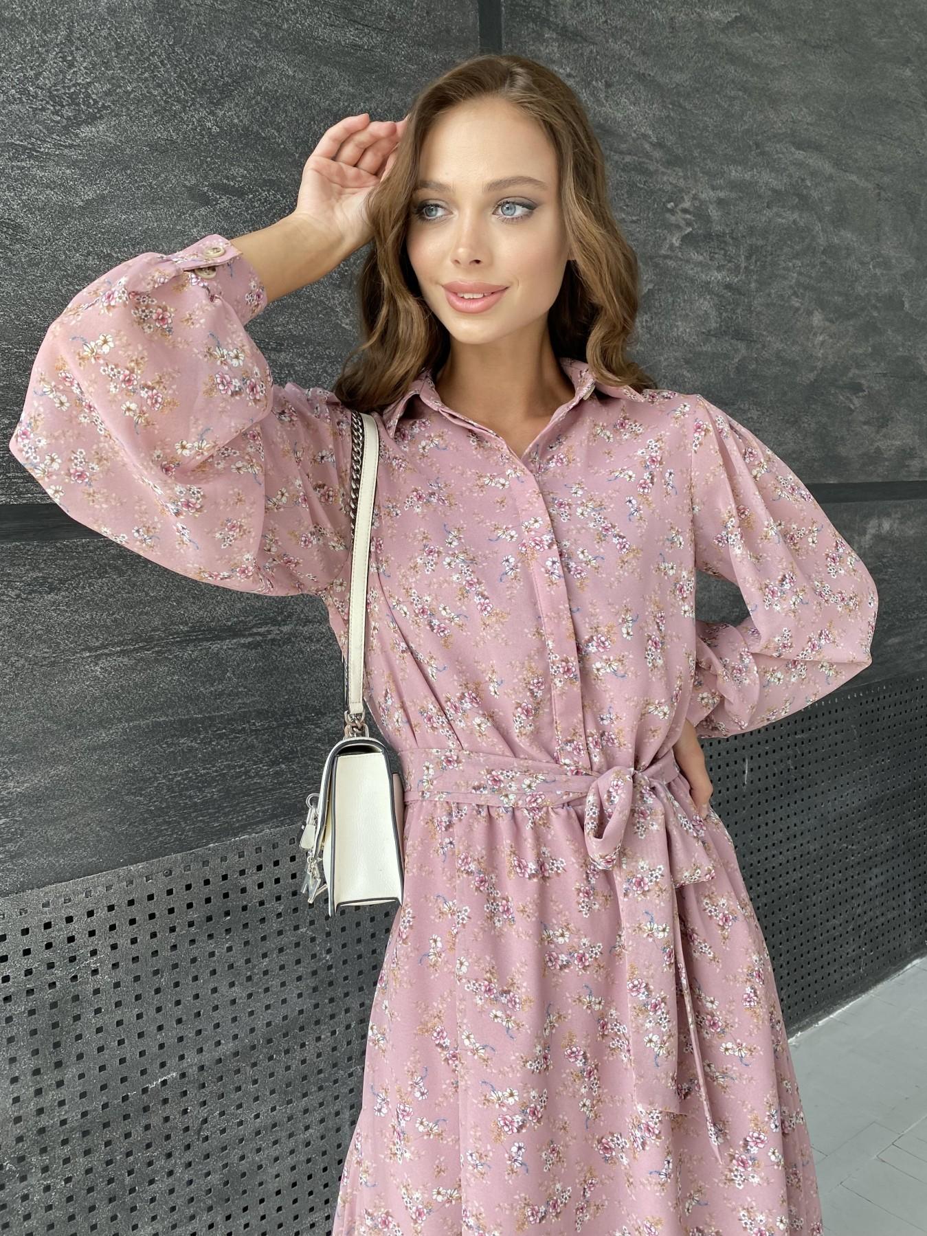 Жасмин платье из  шифона микро принт с длинным рукавом не стрейч 11685  АРТ. 48391 Цвет:  Пудра Т/Мол/Беж/ЦвНаВетке - фото 5, интернет магазин tm-modus.ru