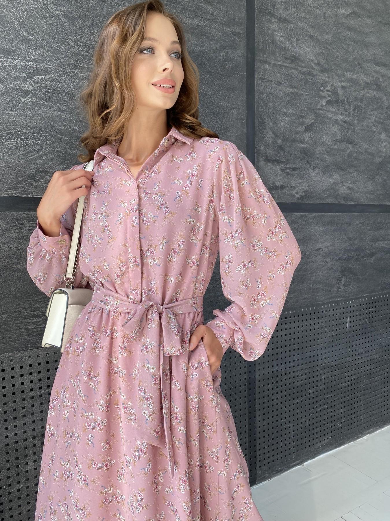 Жасмин платье из  шифона микро принт с длинным рукавом не стрейч 11685  АРТ. 48391 Цвет:  Пудра Т/Мол/Беж/ЦвНаВетке - фото 7, интернет магазин tm-modus.ru