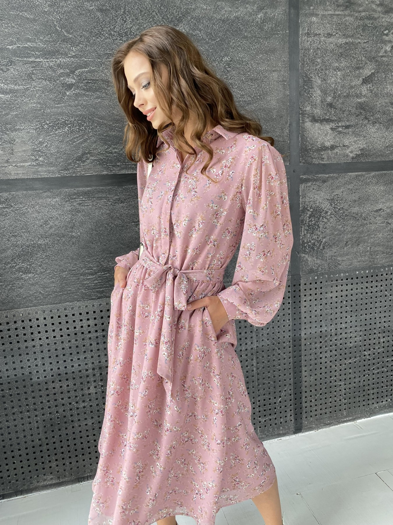 Жасмин платье из  шифона микро принт с длинным рукавом не стрейч 11685  АРТ. 48391 Цвет:  Пудра Т/Мол/Беж/ЦвНаВетке - фото 8, интернет магазин tm-modus.ru