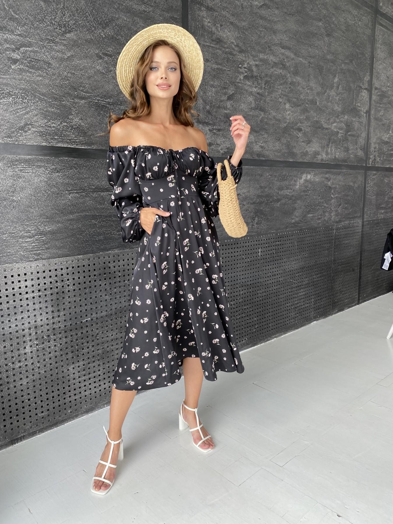 Кисес платье миди д/р шелк принт 11722 АРТ. 48418 Цвет: Черный/пудра/хризантема - фото 3, интернет магазин tm-modus.ru