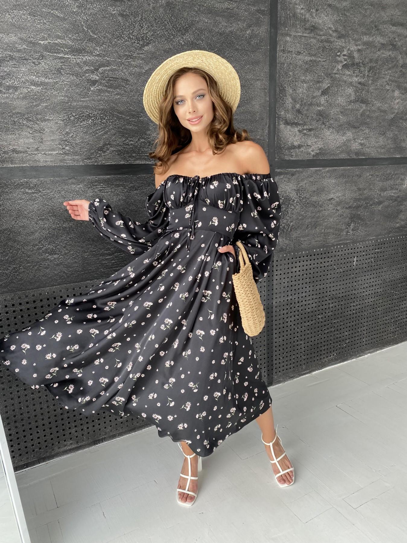 Кисес платье миди д/р шелк принт 11722 АРТ. 48418 Цвет: Черный/пудра/хризантема - фото 5, интернет магазин tm-modus.ru