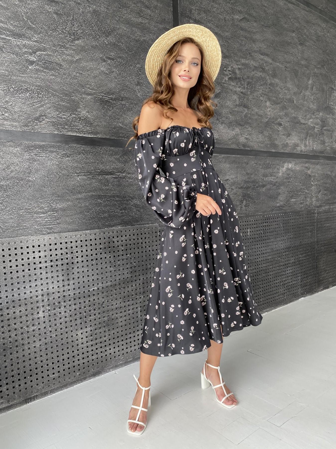 Кисес платье миди д/р шелк принт 11722 АРТ. 48418 Цвет: Черный/пудра/хризантема - фото 6, интернет магазин tm-modus.ru