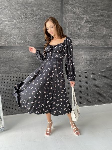 """Купить """"Кисес"""" платье миди д/р шелк принт 11722 оптом и в розницу"""