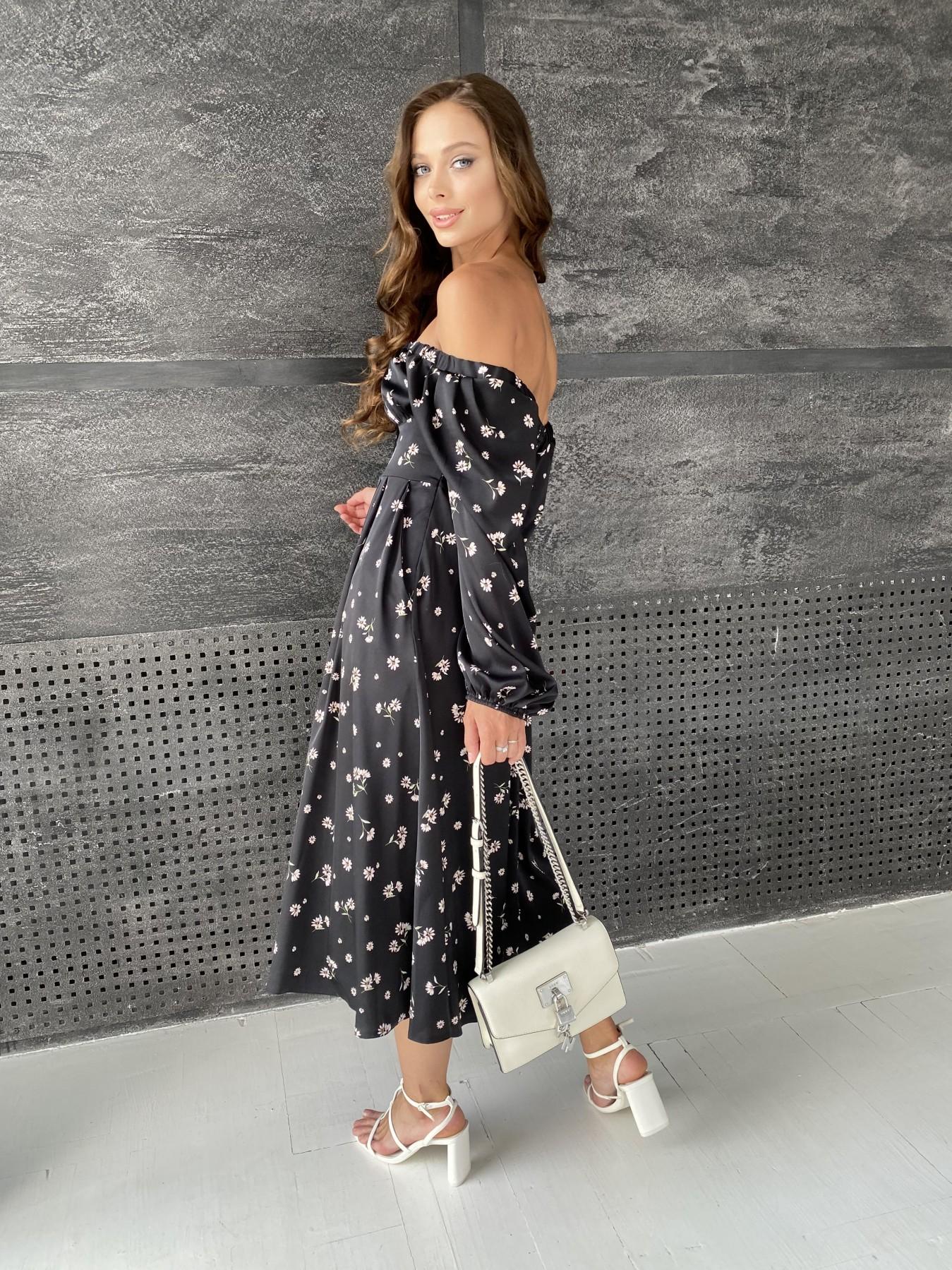 Кисес платье миди д/р шелк принт 11722 АРТ. 48418 Цвет: Черный/пудра/хризантема - фото 9, интернет магазин tm-modus.ru