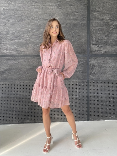 """Купить """"Молизе"""" платье из шифона микро принт с длинным рукавом не стрейч 11683 оптом и в розницу"""
