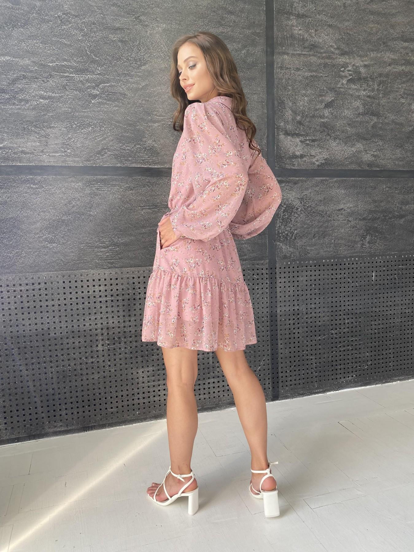 Молизе платье из шифона длиной мини с длинным рукавом в цветочной расцветке 11683 АРТ. 48390 Цвет: Пудра Т/Мол/Беж/ЦвНаВетке - фото 8, интернет магазин tm-modus.ru