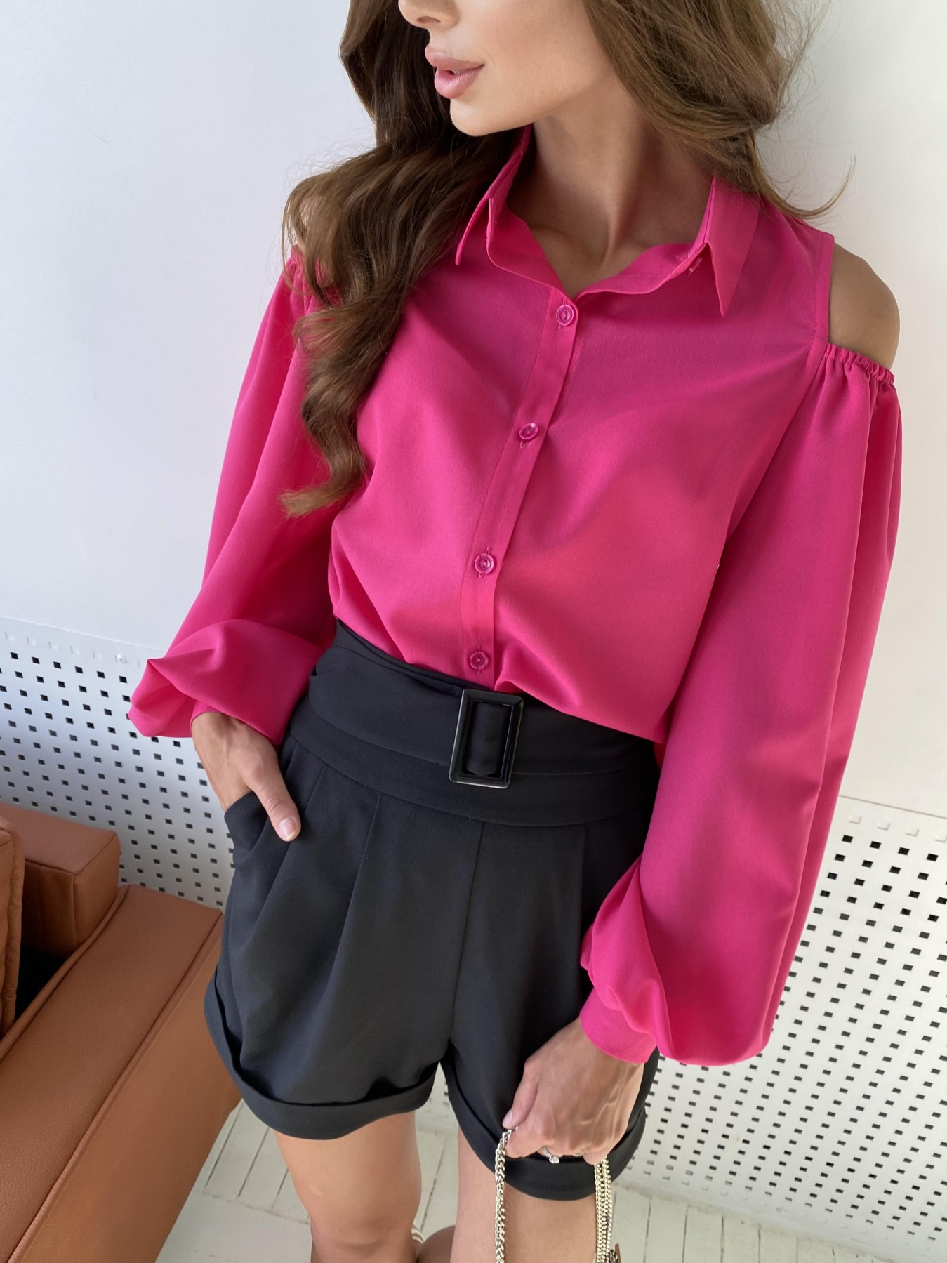 Адель блуза из креп креш шифона 11657 АРТ. 48372 Цвет: Малиновый - фото 4, интернет магазин tm-modus.ru