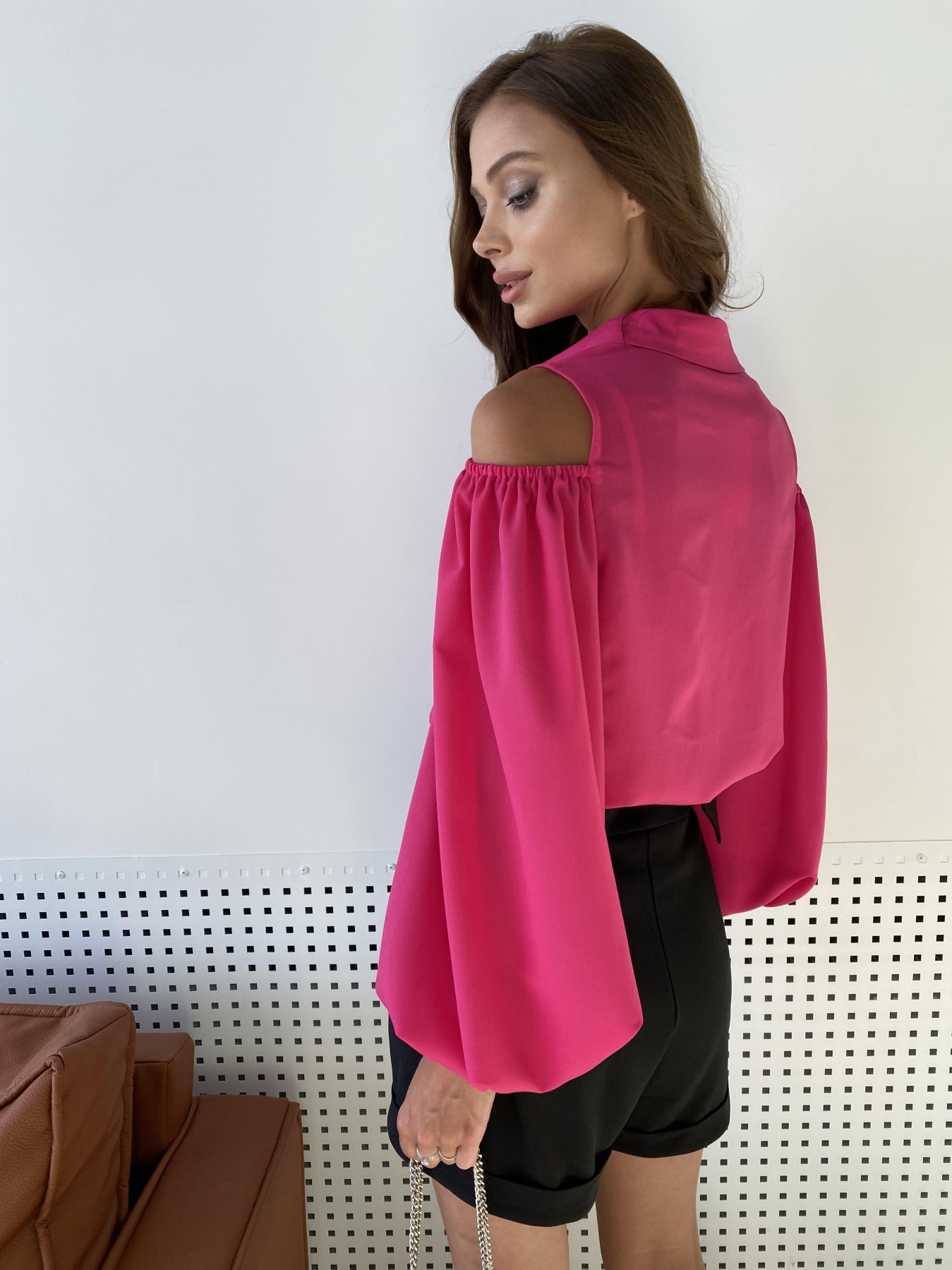 Адель блуза из креп креш шифона 11657 АРТ. 48372 Цвет: Малиновый - фото 7, интернет магазин tm-modus.ru