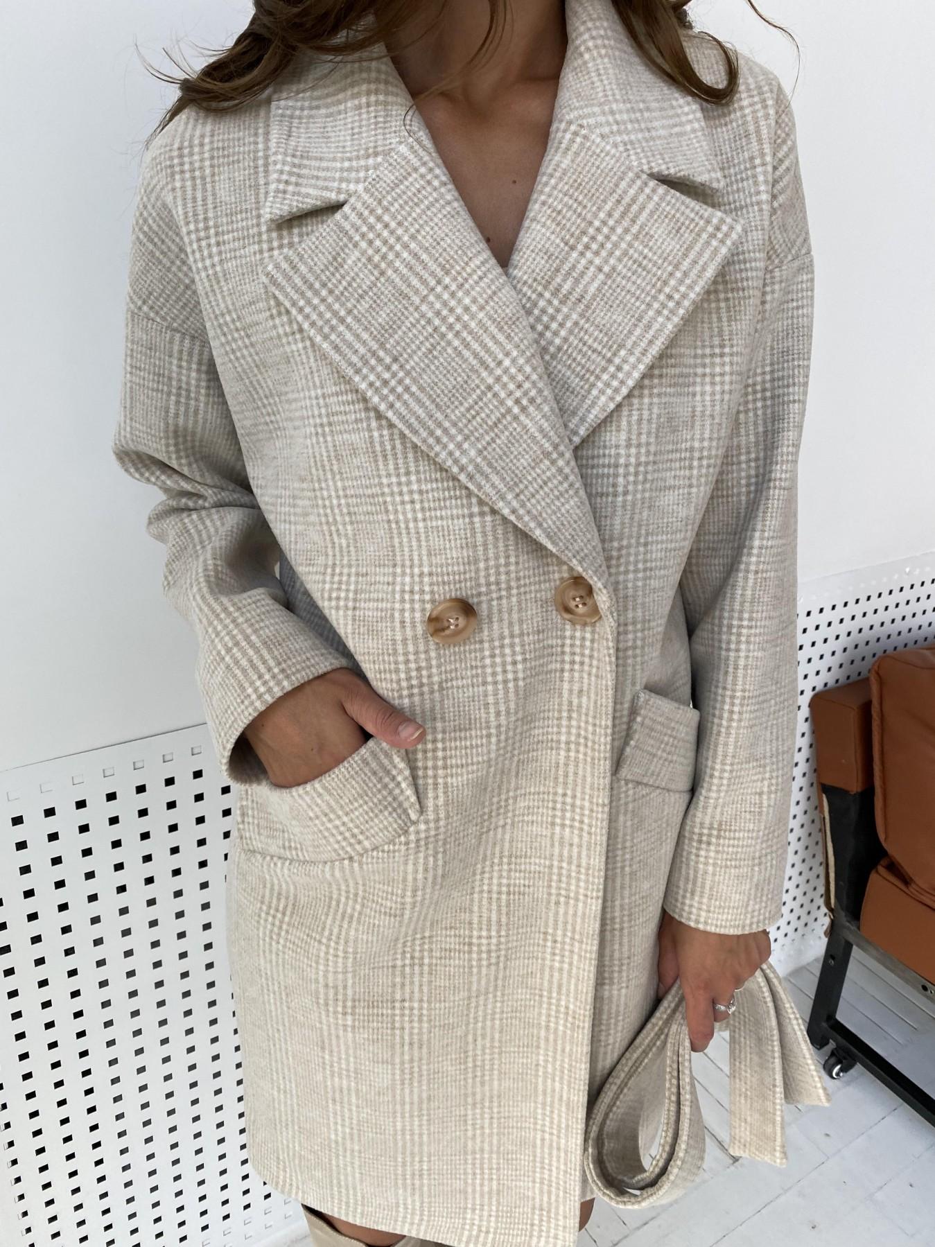 Сенсей пальто клетка комби пальтовая ткань 11649 АРТ. 48363 Цвет: Св.бежевый/молоко - фото 1, интернет магазин tm-modus.ru