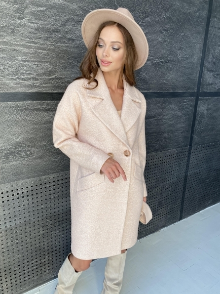 """Купить """"Сенсей"""" пальто  шерсть букле мелкое пальтовая ткань 11647 оптом и в розницу"""