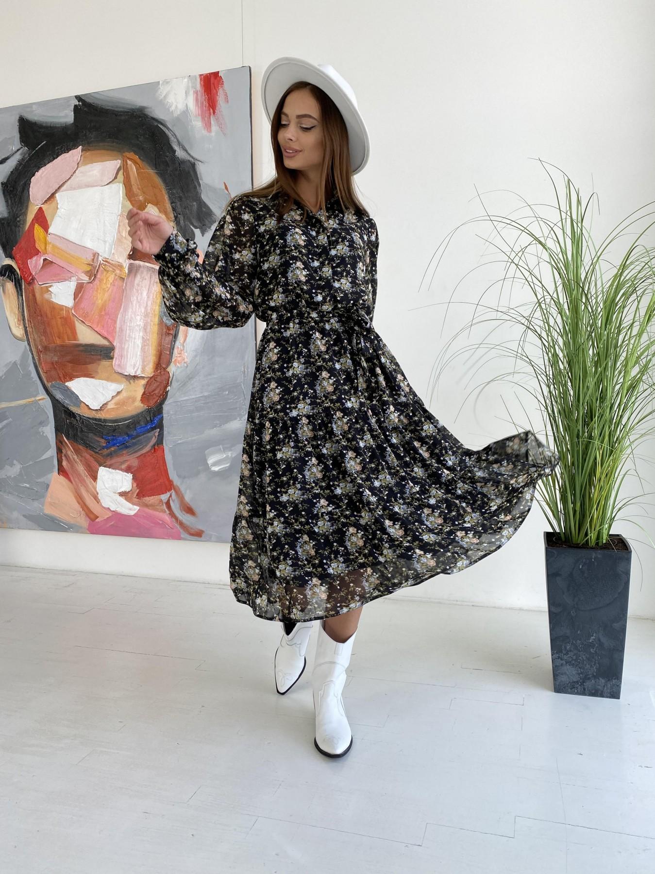 Платье в интернет магазине Лилия д/р шифон микро принт не стрейч платье 11730
