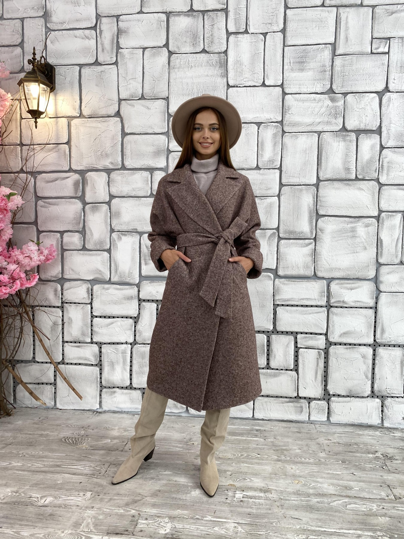 Влада шерсть варенка ткань пальто 11639 АРТ. 48350 Цвет: Кофе - фото 4, интернет магазин tm-modus.ru