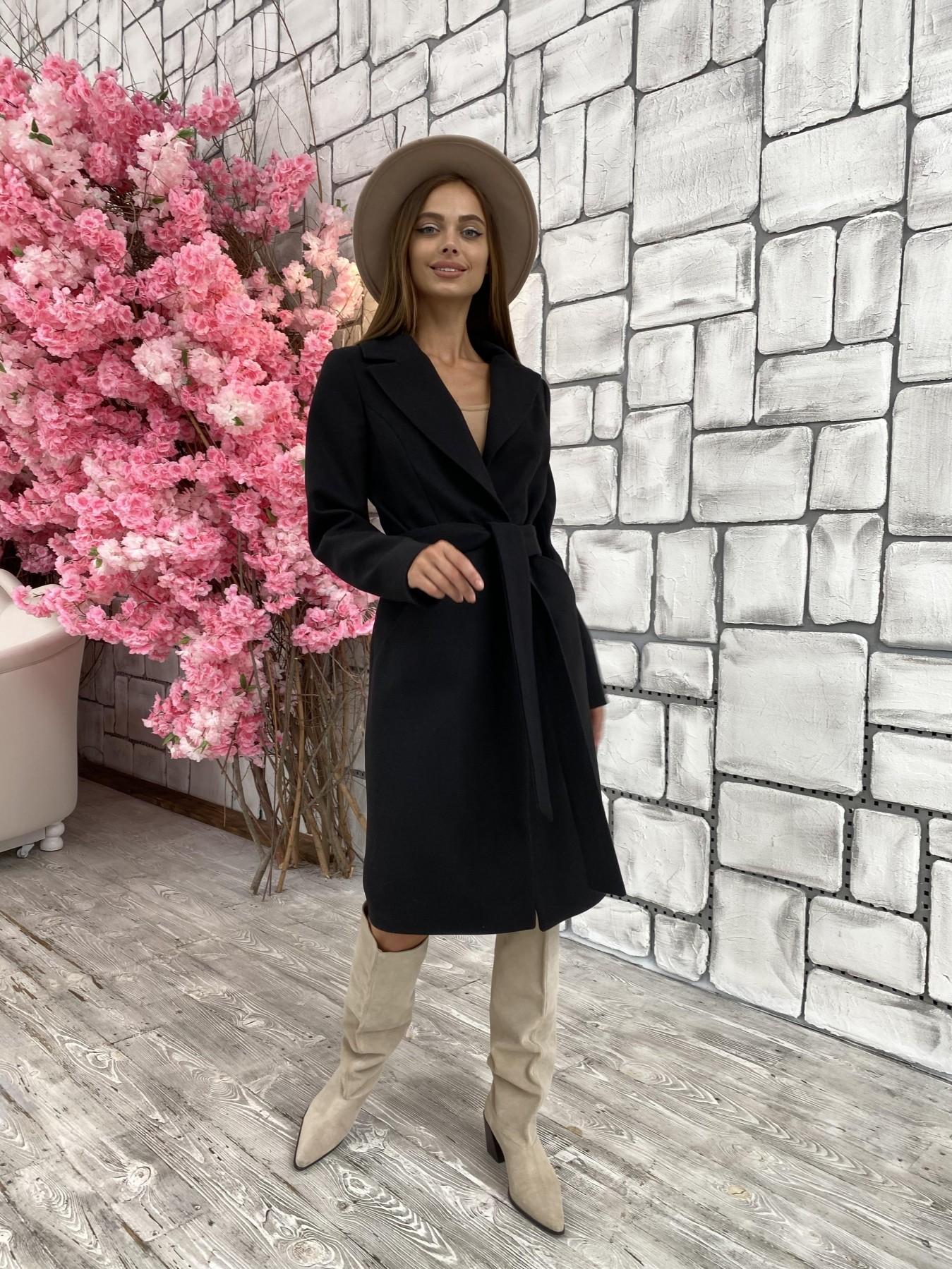 Мехико кашемир гладкий пальто 11643 АРТ. 48353 Цвет: Черный - фото 2, интернет магазин tm-modus.ru