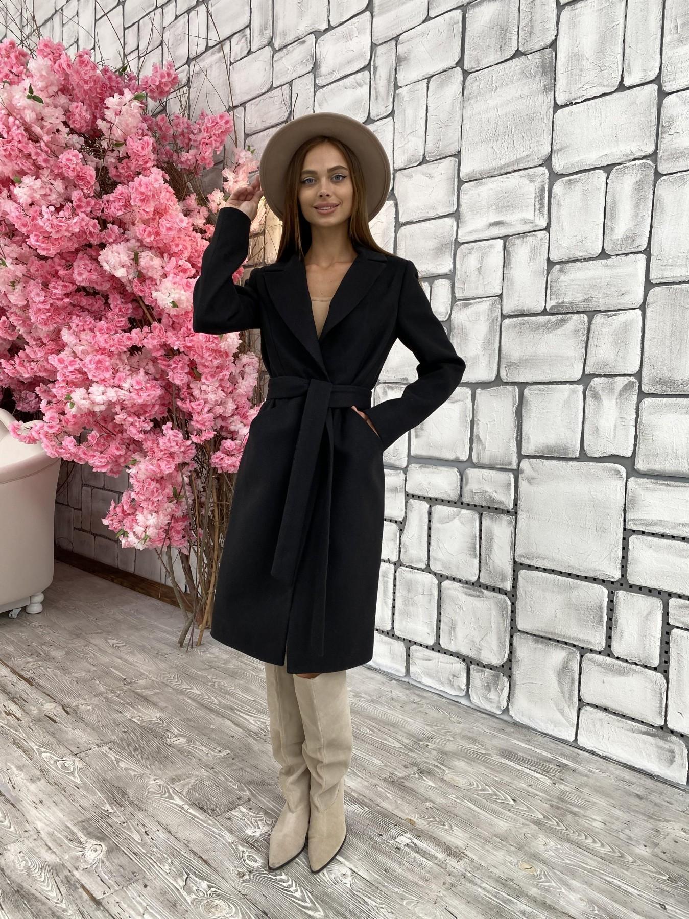 Мехико кашемир гладкий пальто 11643 АРТ. 48353 Цвет: Черный - фото 3, интернет магазин tm-modus.ru