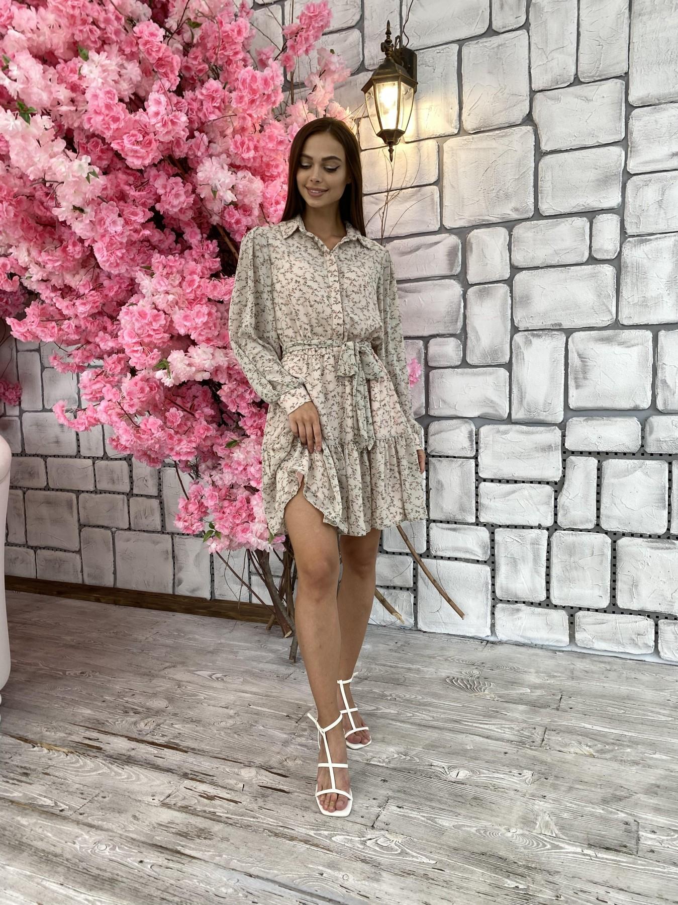 Молизе платье из шифона длиной мини с длинным рукавом в цветочной расцветке 11683 АРТ. 48412 Цвет: Бежевый/букетики - фото 4, интернет магазин tm-modus.ru