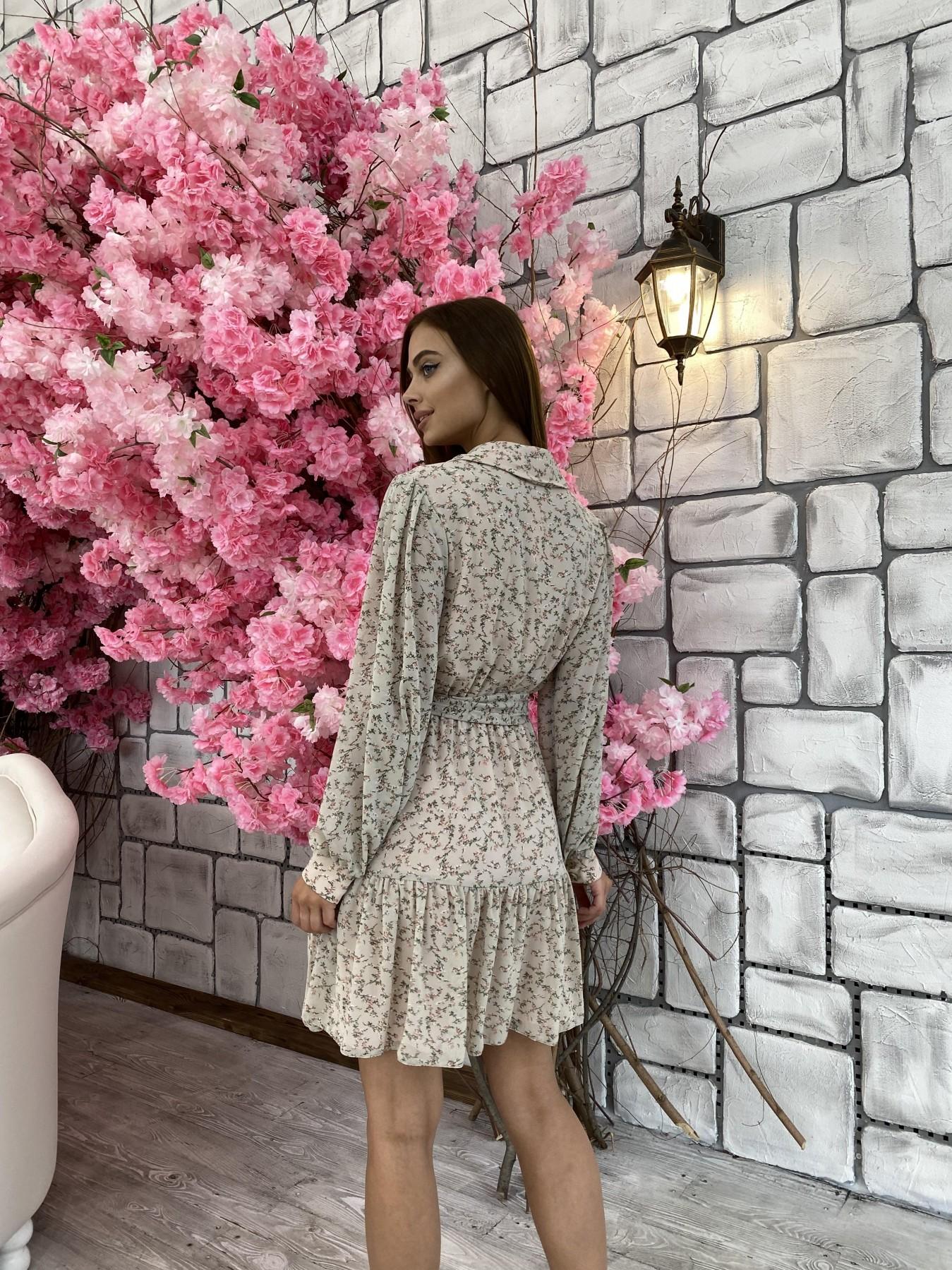 Молизе платье из шифона длиной мини с длинным рукавом в цветочной расцветке 11683 АРТ. 48412 Цвет: Бежевый/букетики - фото 6, интернет магазин tm-modus.ru