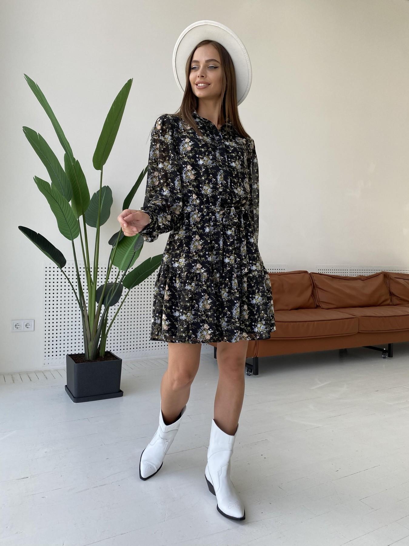 Молизе платье из шифона длиной мини с длинным рукавом в цветочной расцветке 11683 АРТ. 48411 Цвет: Черный/беж/голубой/БукетЦв - фото 3, интернет магазин tm-modus.ru