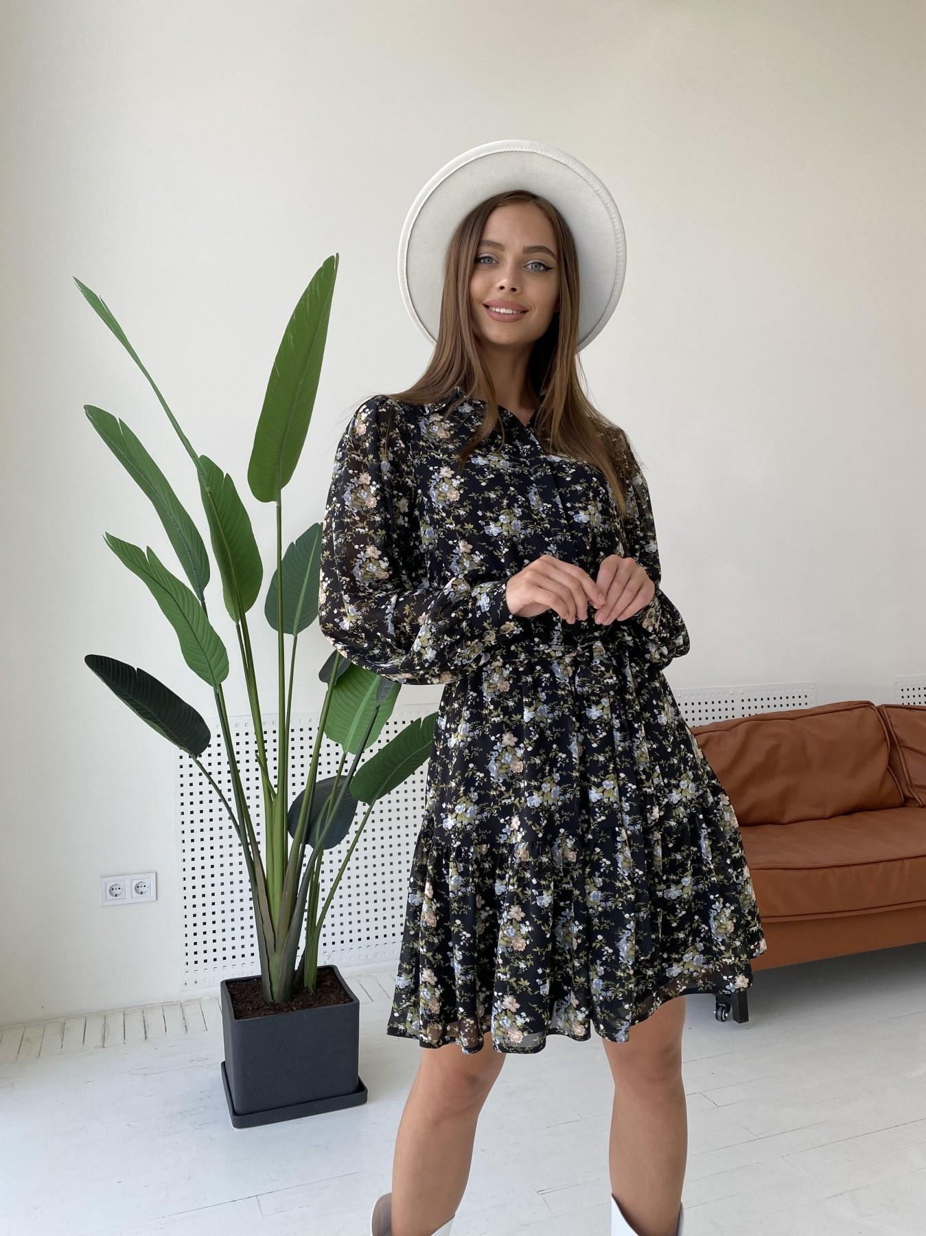 Молизе платье из шифона длиной мини с длинным рукавом в цветочной расцветке 11683 АРТ. 48411 Цвет: Черный/беж/голубой/БукетЦв - фото 4, интернет магазин tm-modus.ru