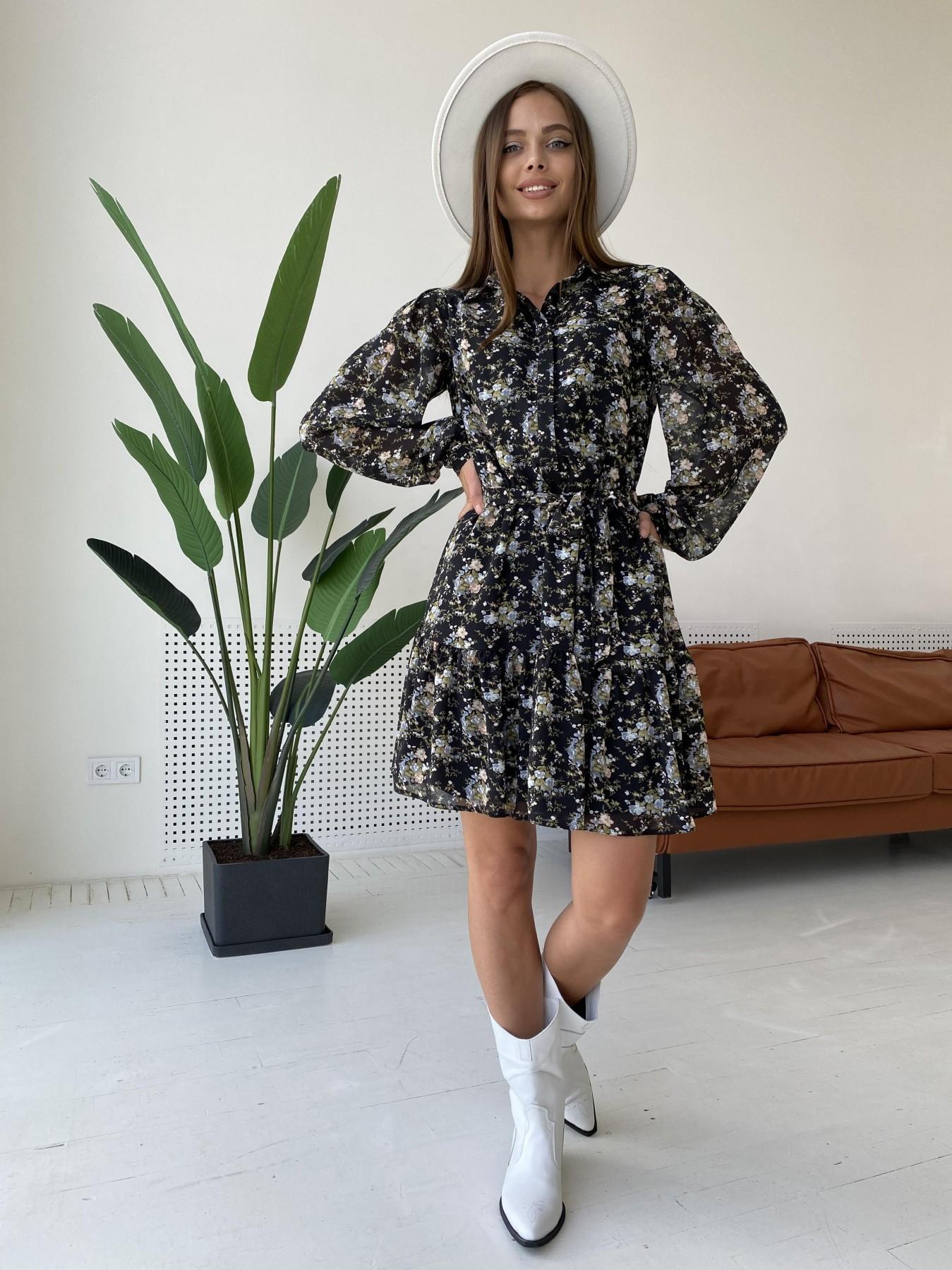 Платье оптом от производителя Modus Молизе платье из шифона длиной мини с длинным рукавом в цветочной расцветке 11683