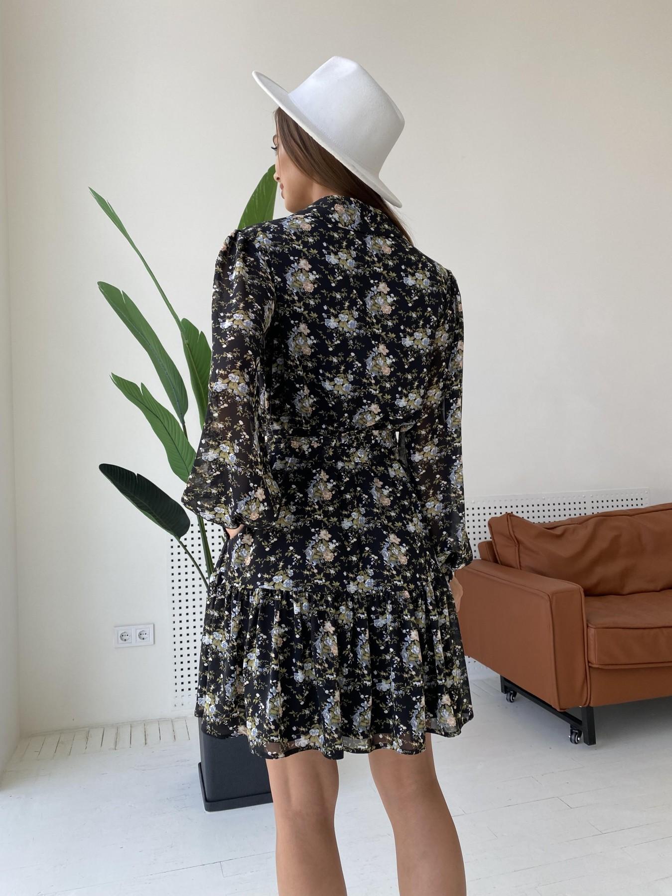 Молизе платье из шифона длиной мини с длинным рукавом в цветочной расцветке 11683 АРТ. 48411 Цвет: Черный/беж/голубой/БукетЦв - фото 7, интернет магазин tm-modus.ru