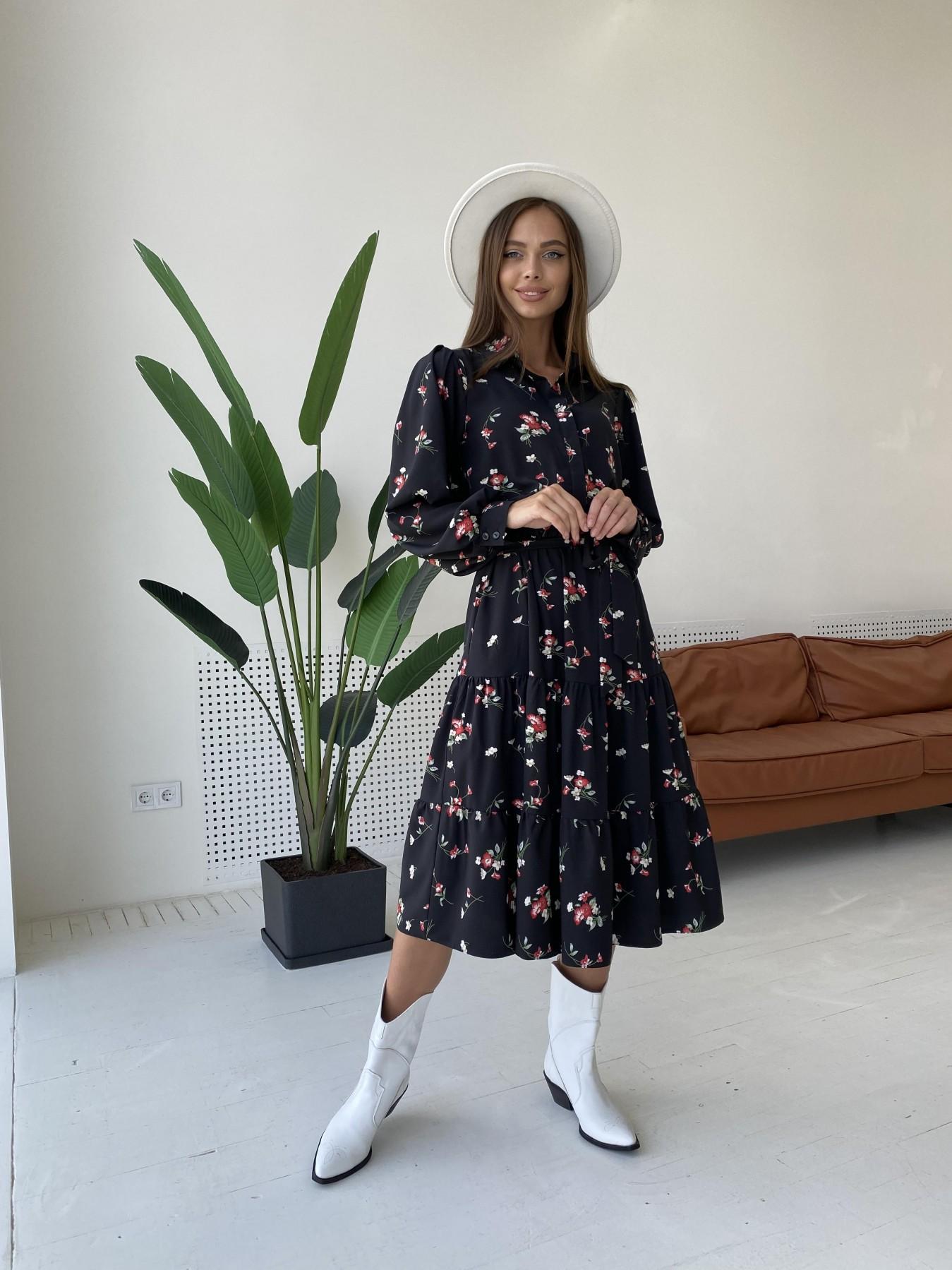 Лилия д/р софт принт стрейч платье 11708 АРТ. 48410 Цвет: Черный/Красн/Мол/БукЦв - фото 3, интернет магазин tm-modus.ru