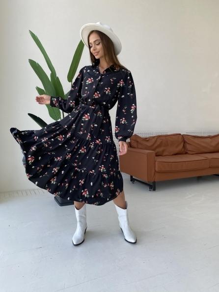 """Купить """"Лилия"""" д/р софт принт стрейч платье 11708 оптом и в розницу"""