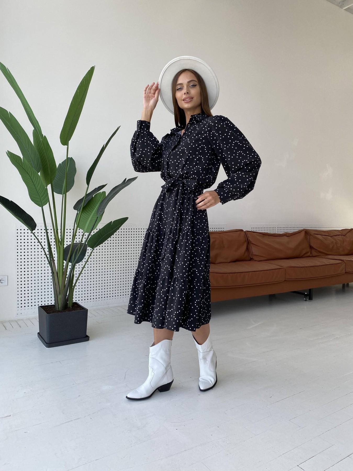 Лилия д/р софт принт стрейч платье 11708 АРТ. 48409 Цвет: Черный/Молоко/ГорохМел - фото 2, интернет магазин tm-modus.ru