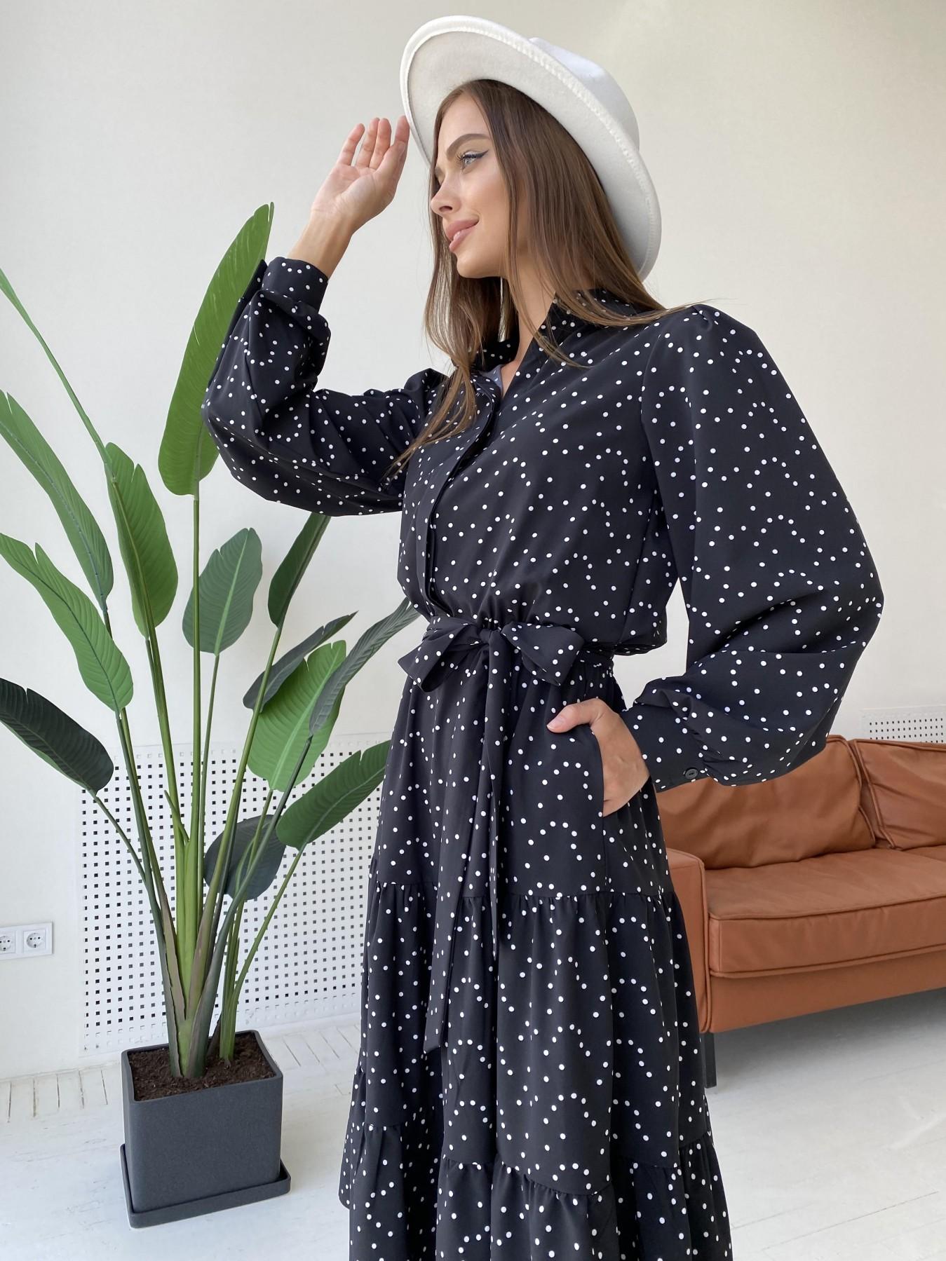 Лилия д/р софт принт стрейч платье 11708 АРТ. 48409 Цвет: Черный/Молоко/ГорохМел - фото 3, интернет магазин tm-modus.ru