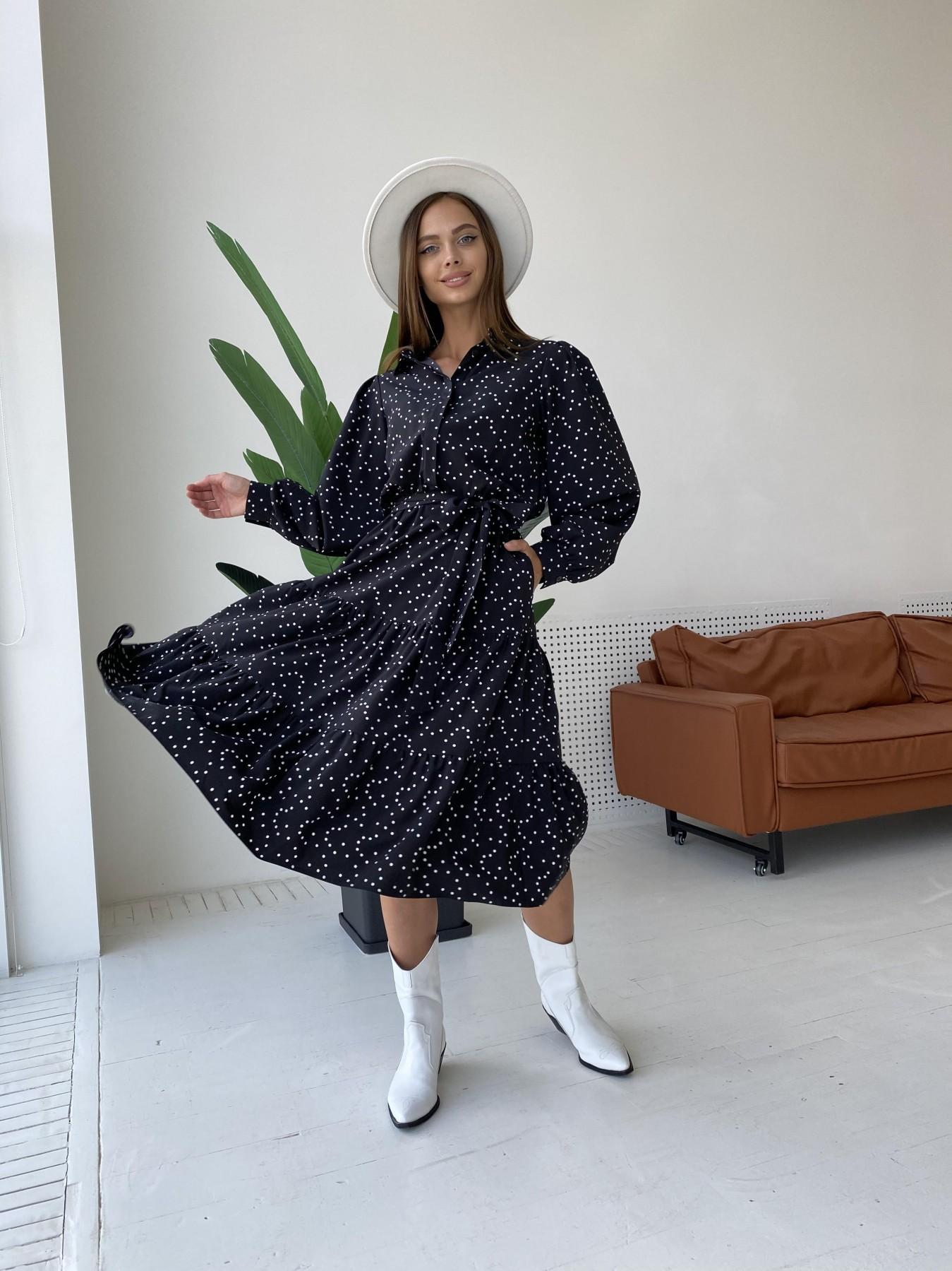 Лилия д/р софт принт стрейч платье 11708 АРТ. 48409 Цвет: Черный/Молоко/ГорохМел - фото 4, интернет магазин tm-modus.ru