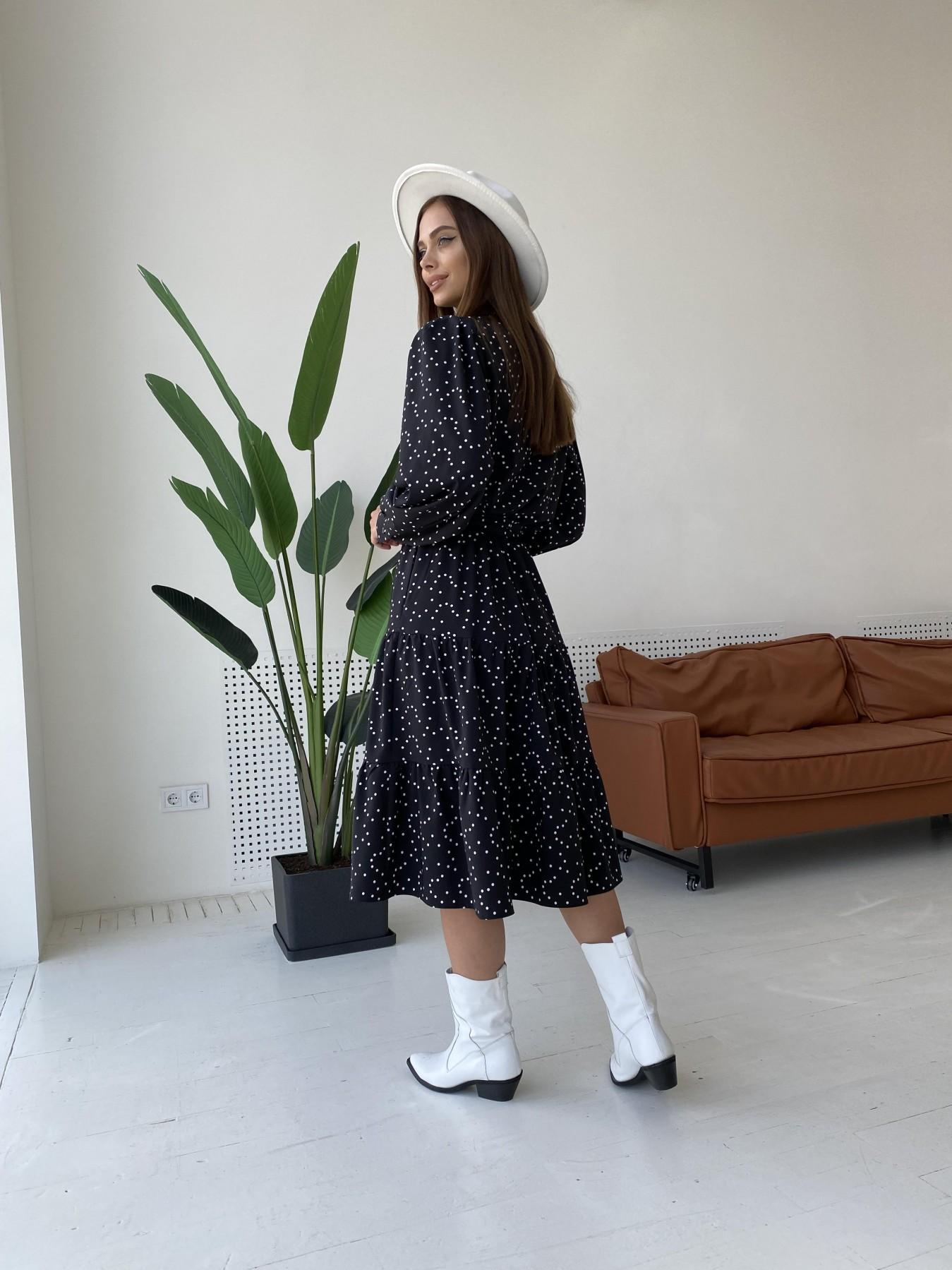 Лилия д/р софт принт стрейч платье 11708 АРТ. 48409 Цвет: Черный/Молоко/ГорохМел - фото 5, интернет магазин tm-modus.ru