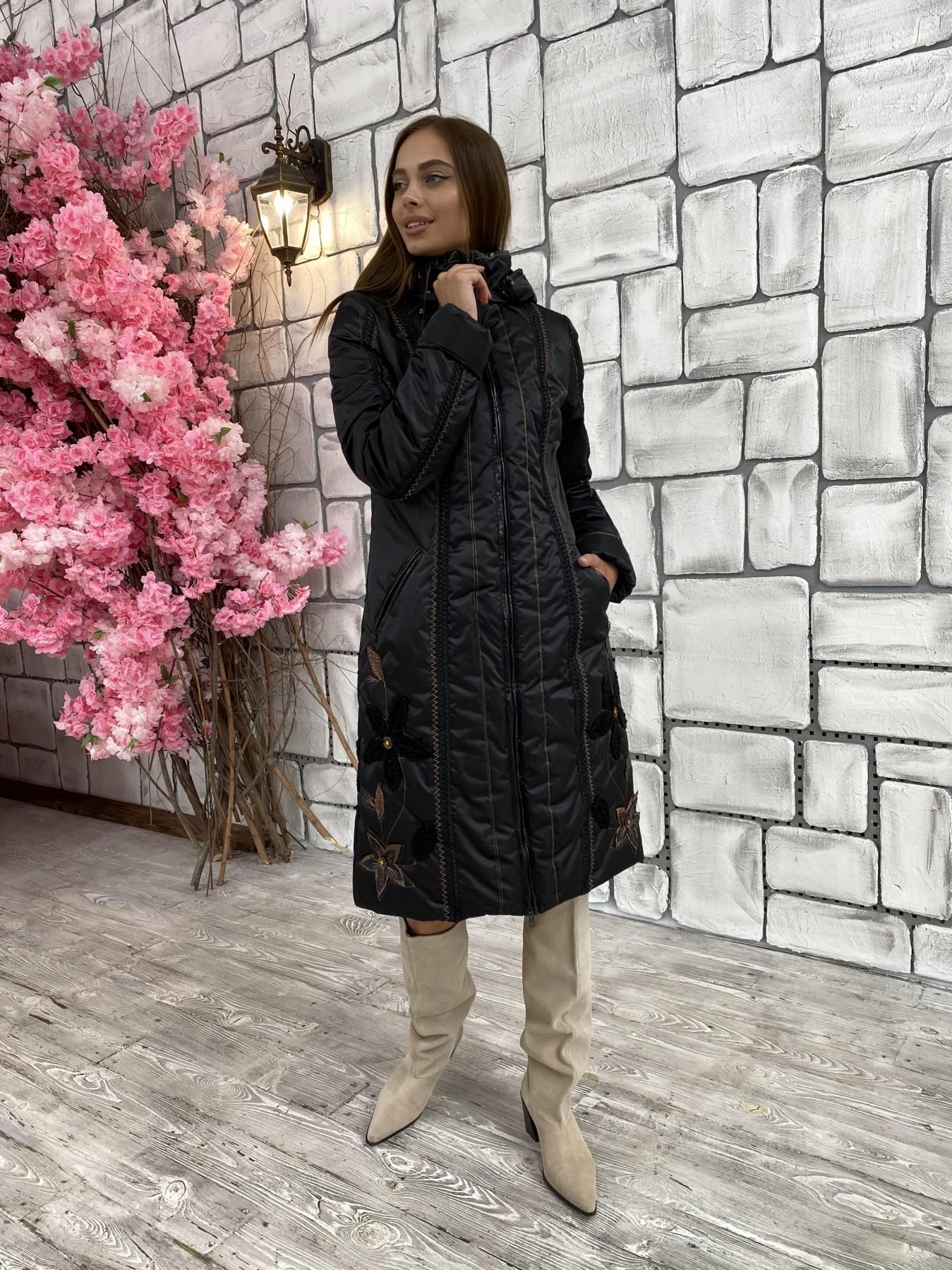 Ромашка плащевка пальто Зима АРТ. 47128 Цвет: Черный - фото 2, интернет магазин tm-modus.ru