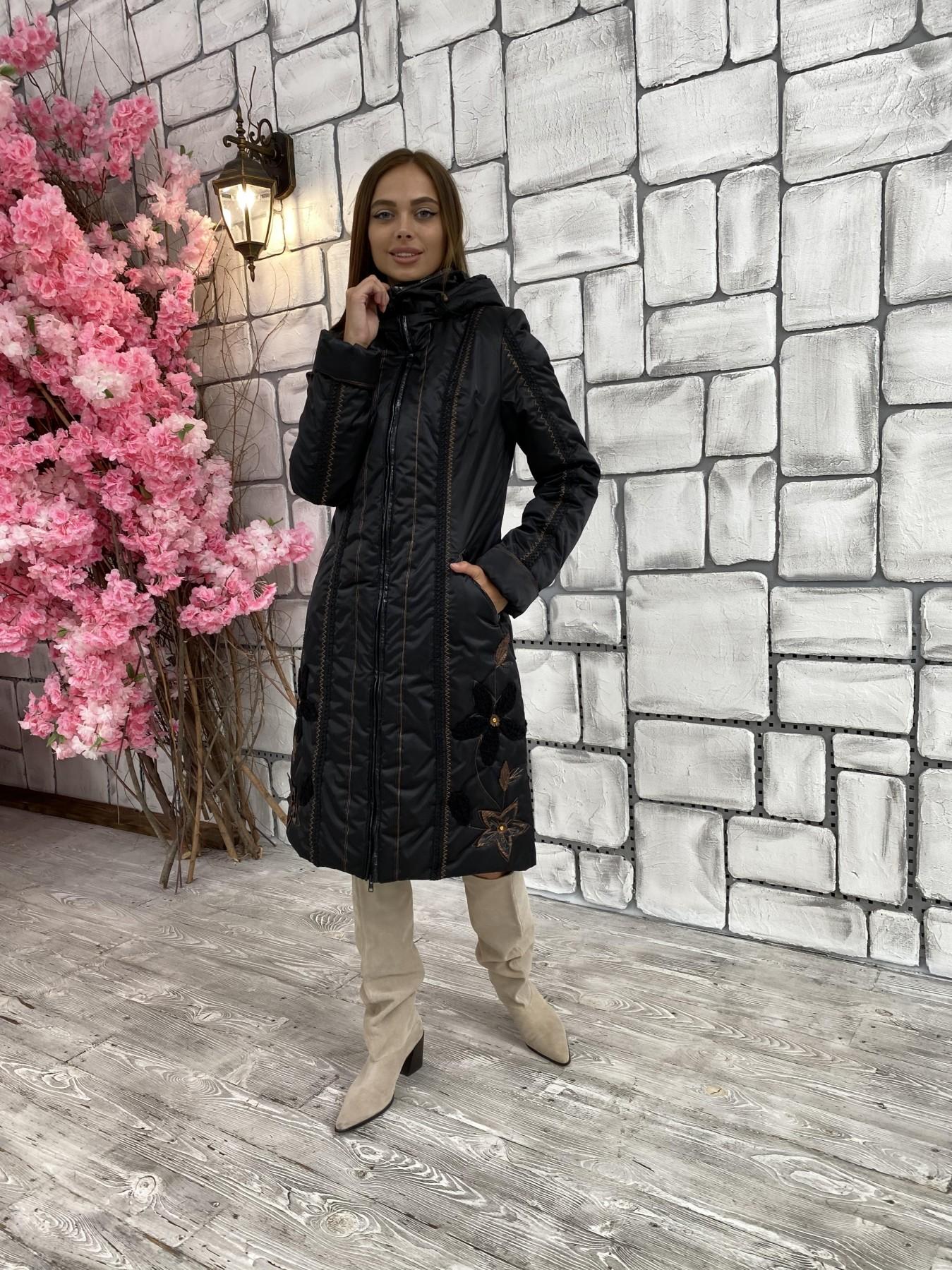 Ромашка плащевка пальто Зима АРТ. 47128 Цвет: Черный - фото 4, интернет магазин tm-modus.ru