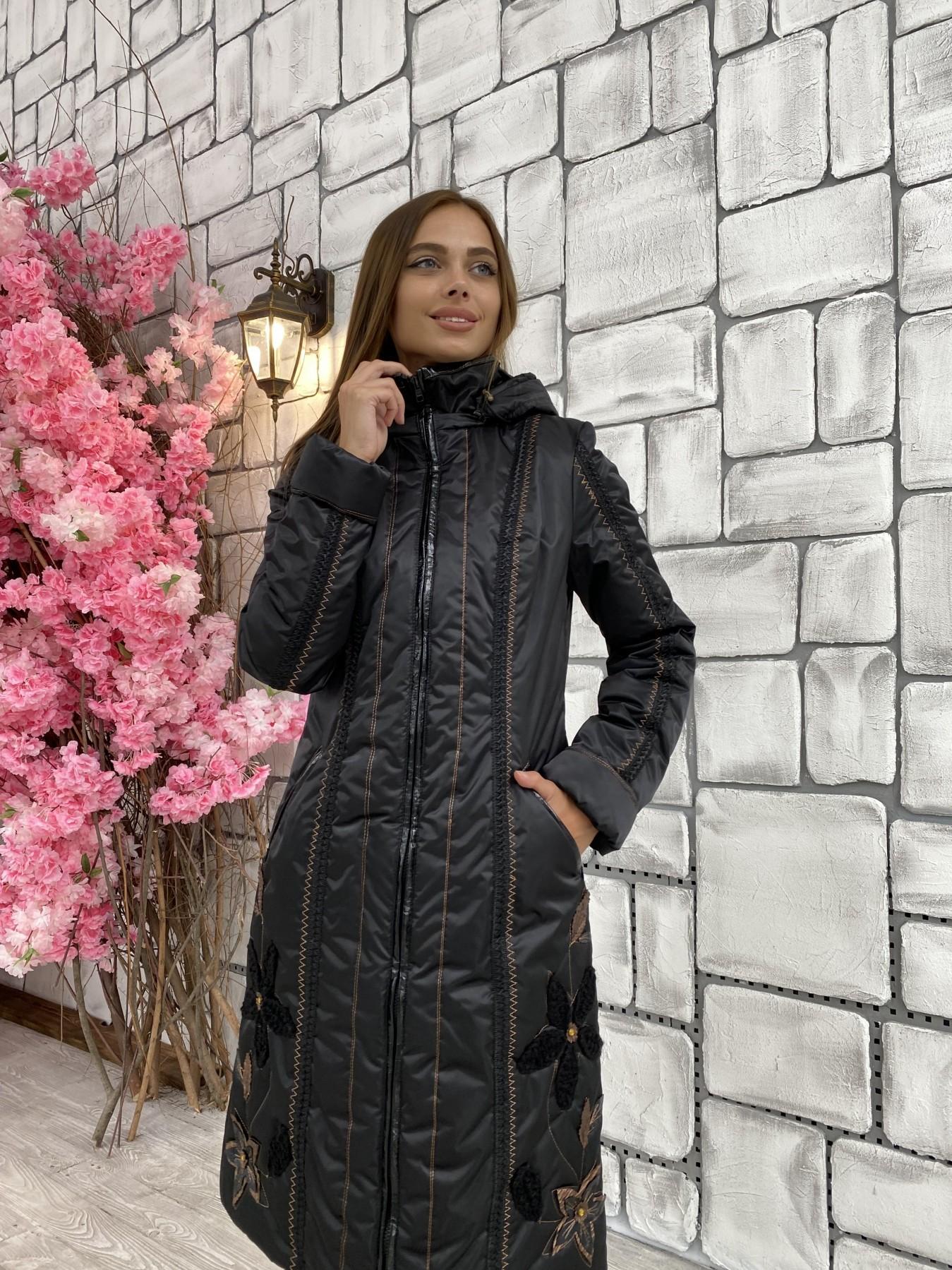 Ромашка плащевка пальто Зима АРТ. 47128 Цвет: Черный - фото 5, интернет магазин tm-modus.ru