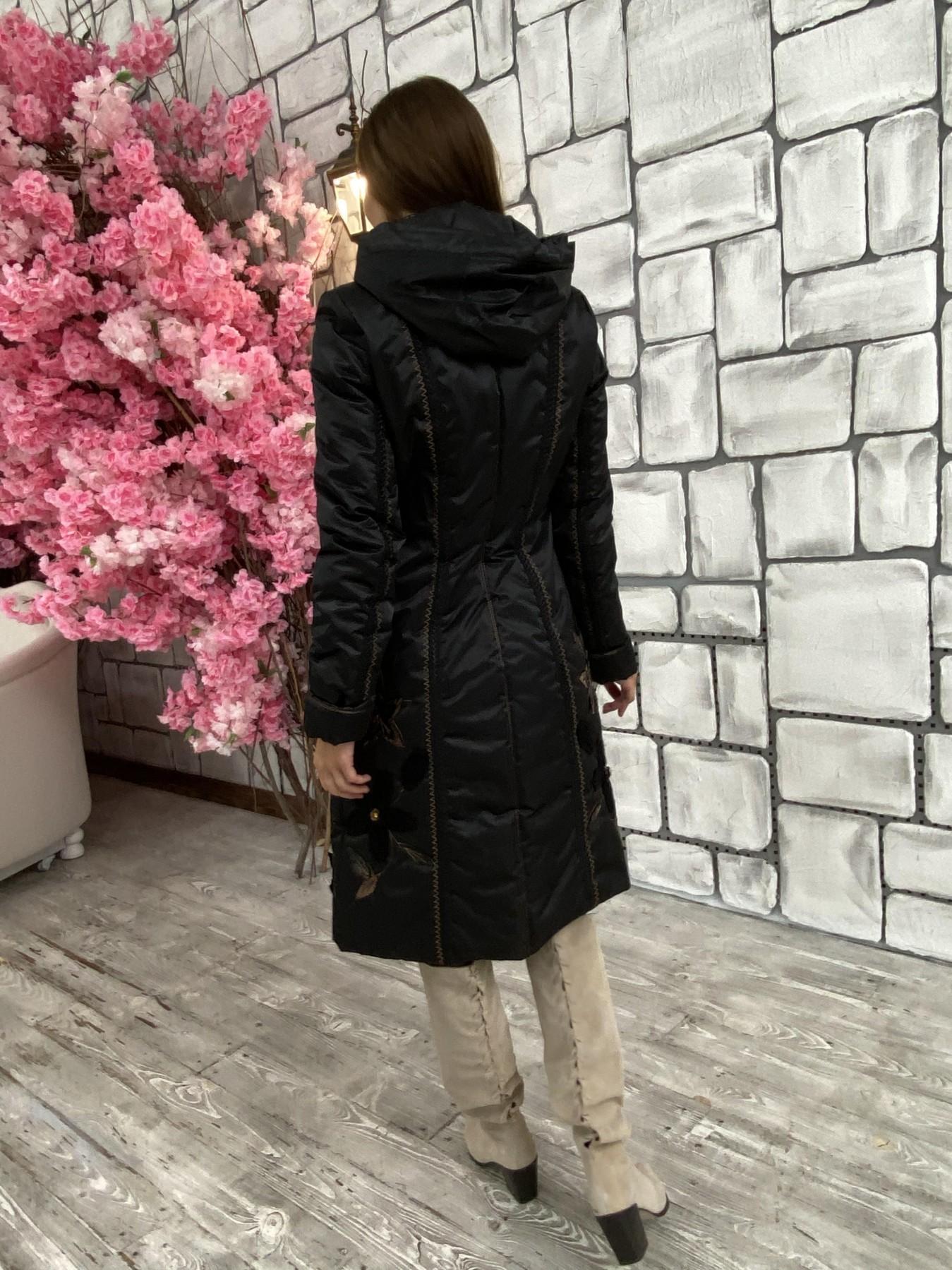 Ромашка плащевка пальто Зима АРТ. 47128 Цвет: Черный - фото 6, интернет магазин tm-modus.ru