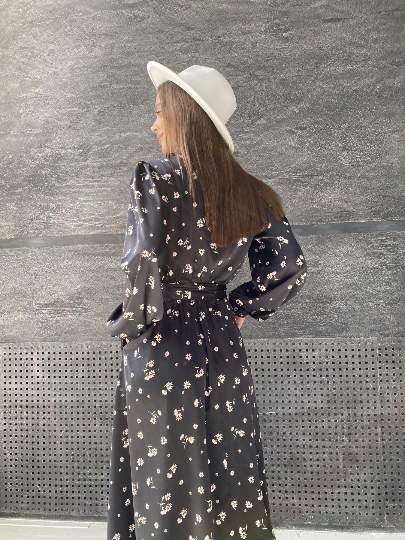 Жасмин д/р шелк принт платье 11716 АРТ. 48417 Цвет: Черный/пудра/хризантема - фото 1, интернет магазин tm-modus.ru
