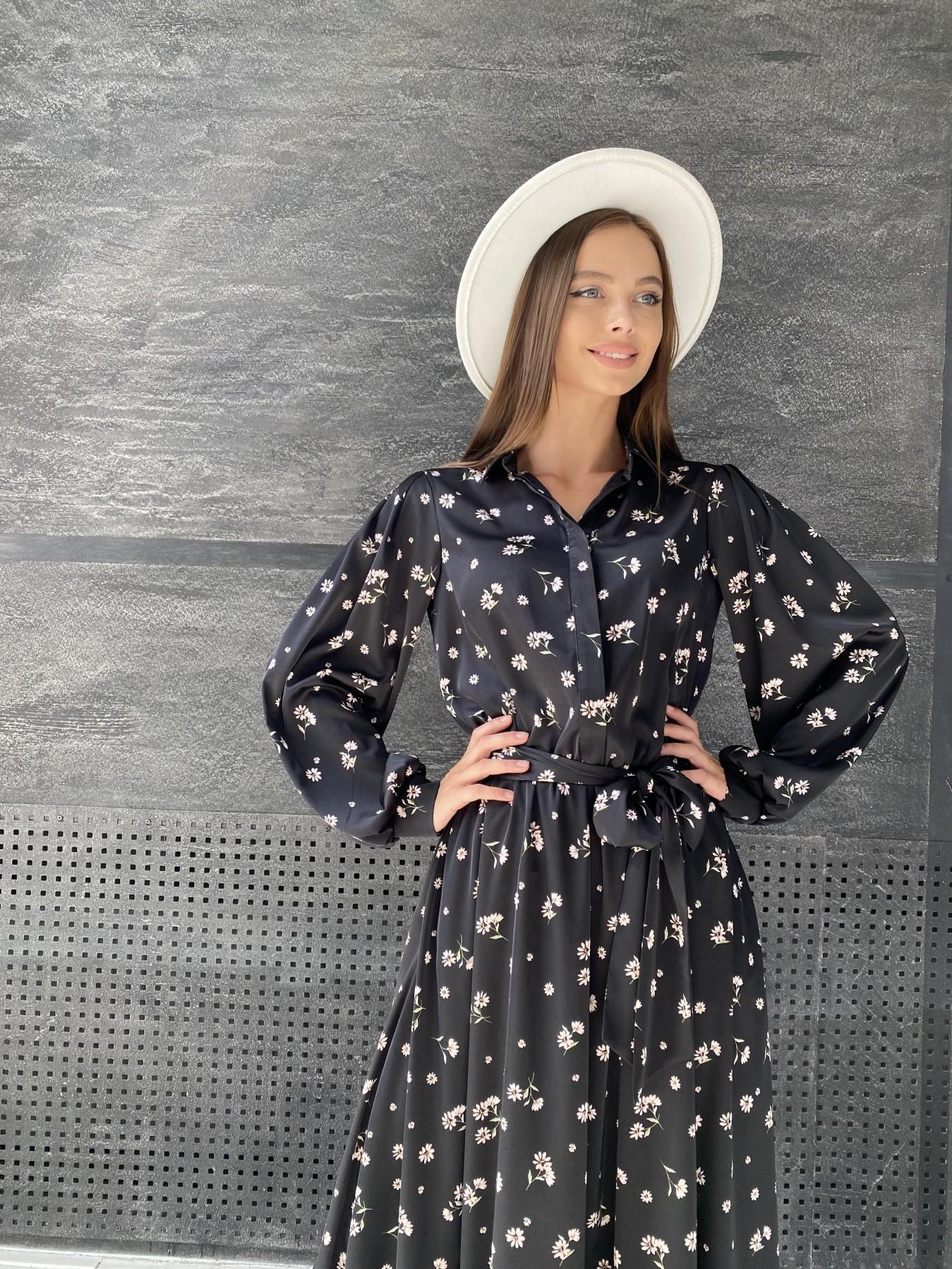 Жасмин д/р шелк принт платье 11716 АРТ. 48417 Цвет: Черный/пудра/хризантема - фото 2, интернет магазин tm-modus.ru